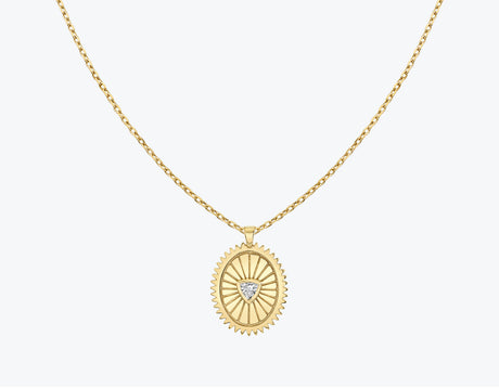 VRAI Inner Fire Medallion with .10ct Trillion cut diamond necklace 14k solid gold