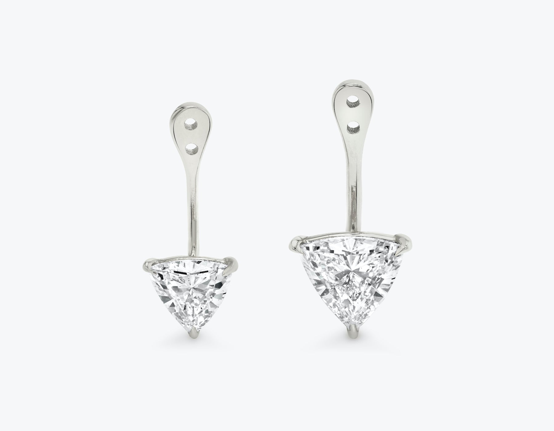 Vrai solitaire trillion diamond drop ear jackets made in 14k solid gold with sustainably created diamonds, 14K White Gold