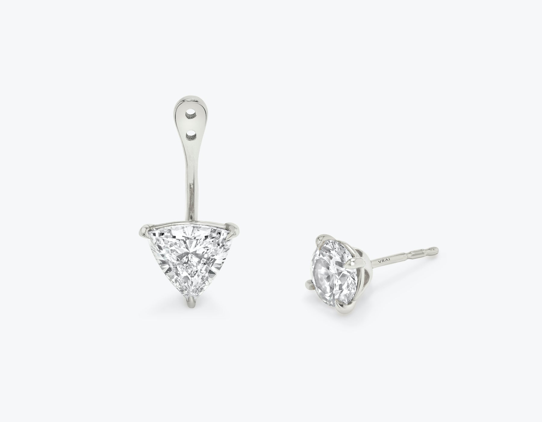 Vrai solitaire trillion diamond drop ear jackets made in 14k solid gold with sustainably created diamonds with round solitaire diamond stud, 14K White Gold