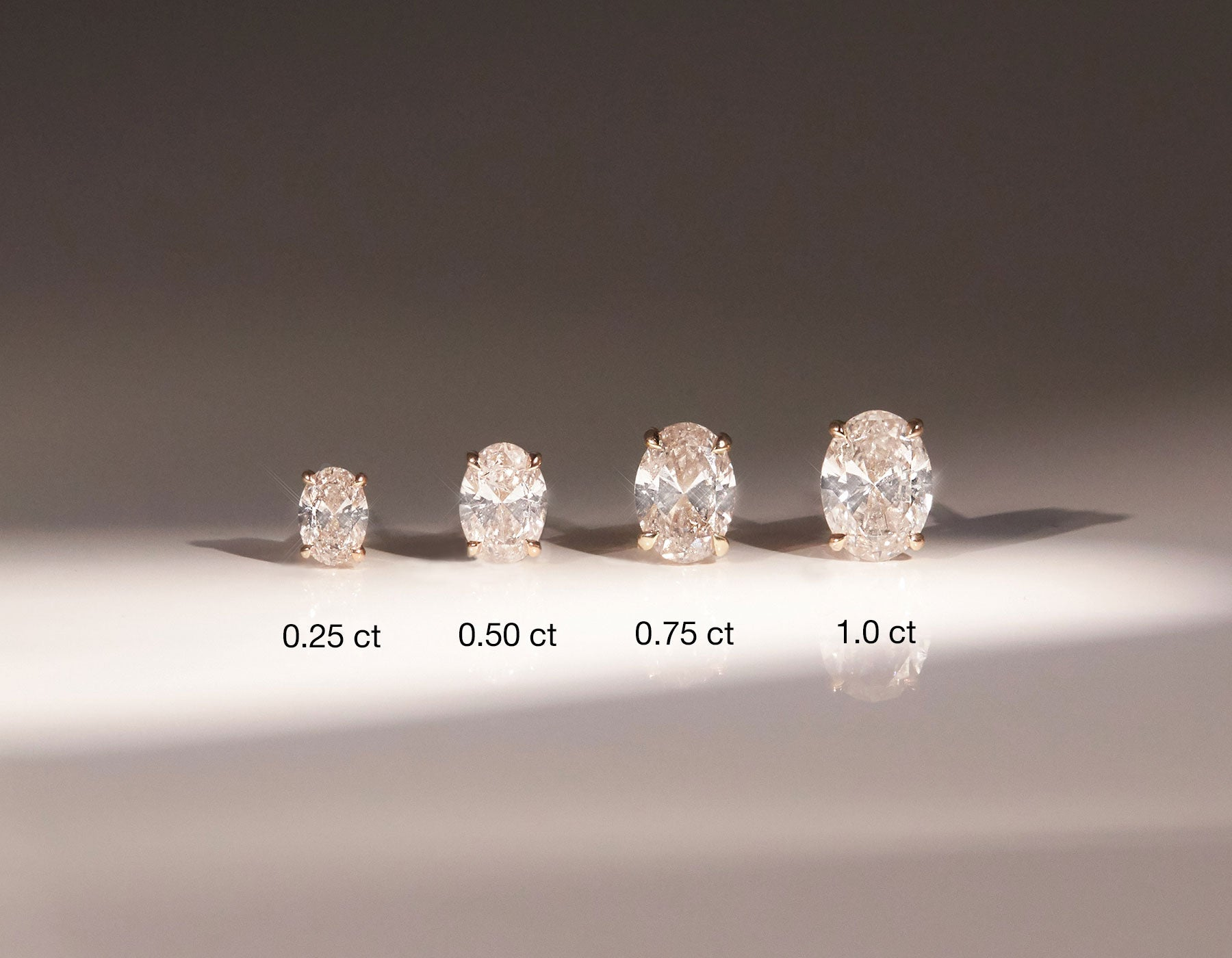 Vrai Solitaire Oval Created Diamond Studs in various carat weights