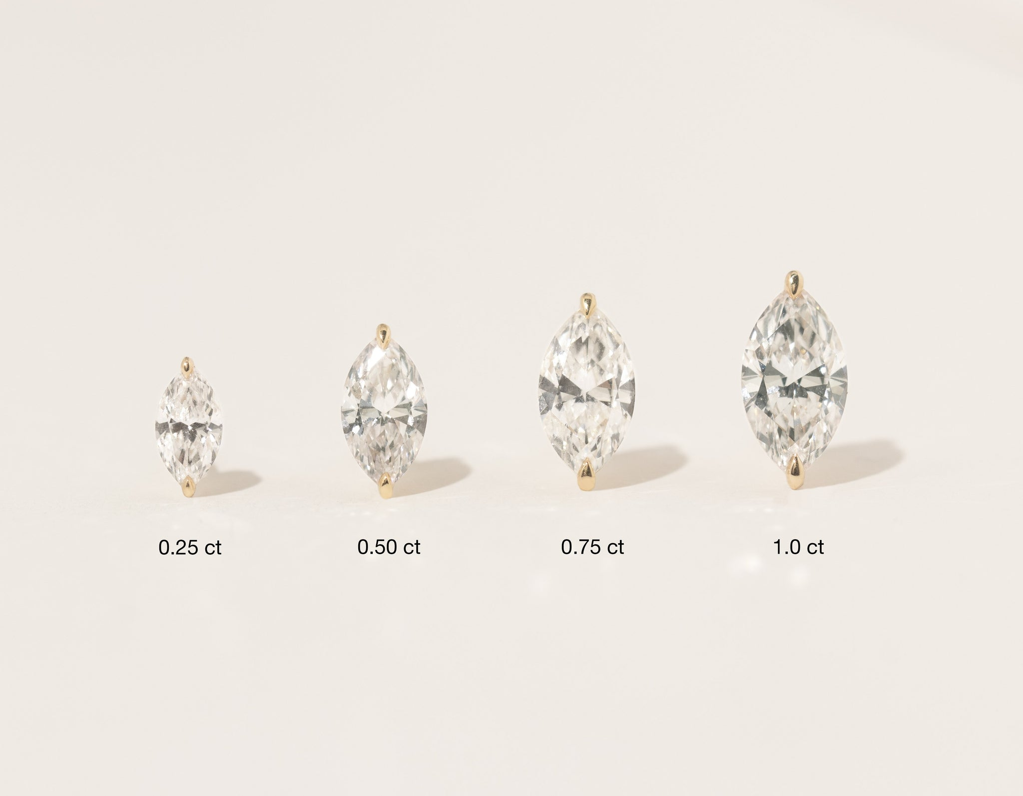 Vrai 14K solid gold solitaire marquise diamond stud earrings 1ct .75ct .50 carat .25 carat minimalist simple jewelry