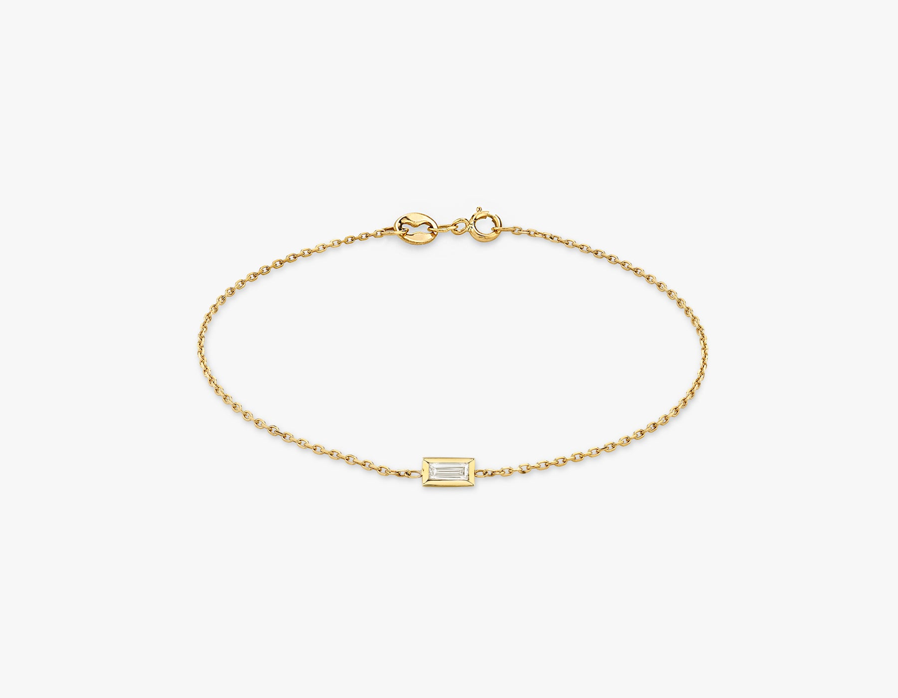 Vrai simple minimalist Baguette Diamond Bezel Bracelet, 14K Yellow Gold
