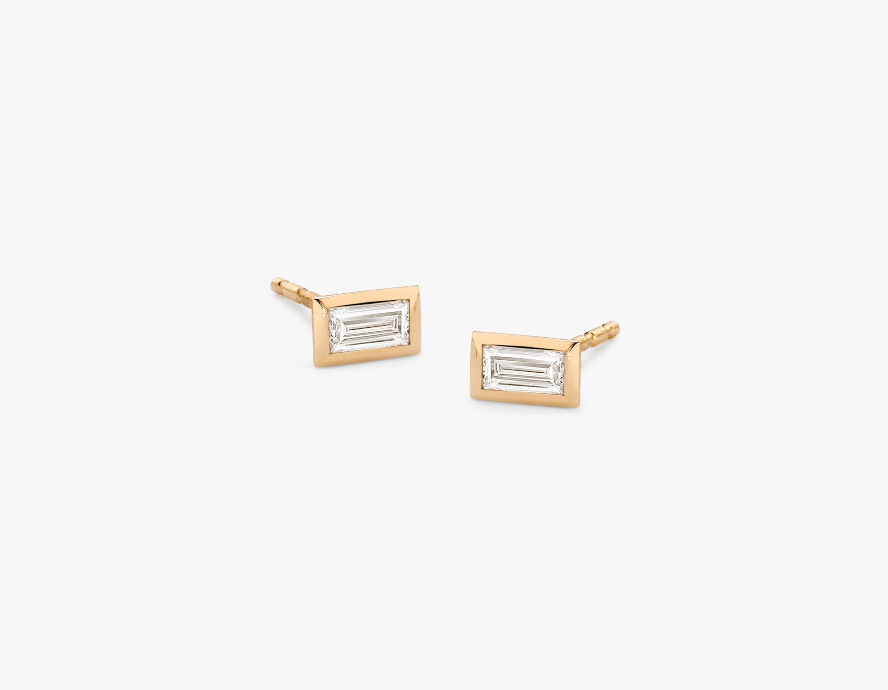 Vrai simple minimalist Baguette Diamond Bezel Earrings, 14K Rose Gold
