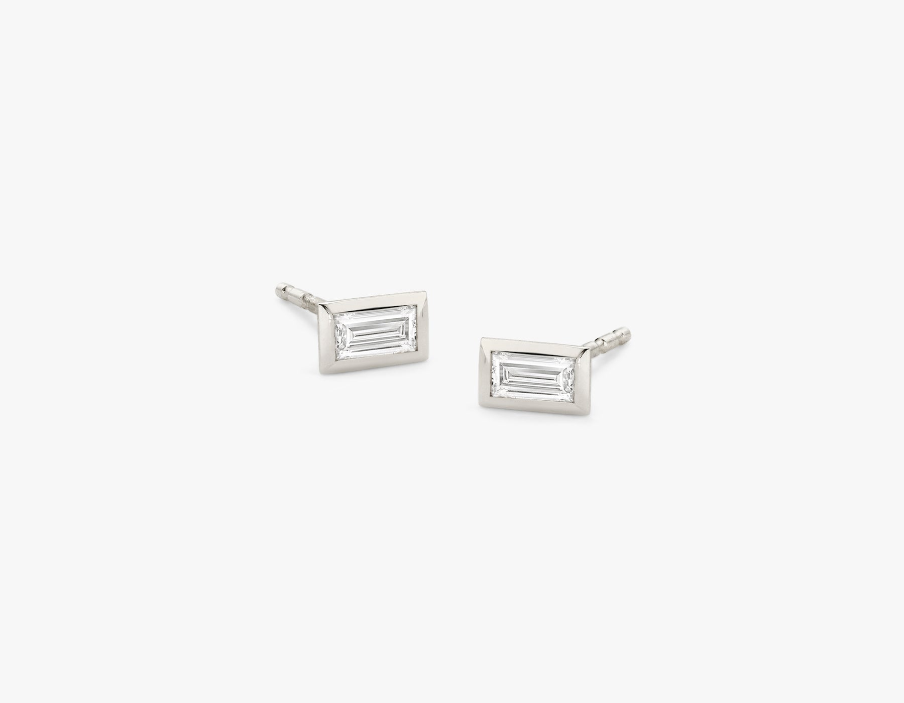 Vrai simple minimalist Baguette Diamond Bezel Earrings, 14K White Gold