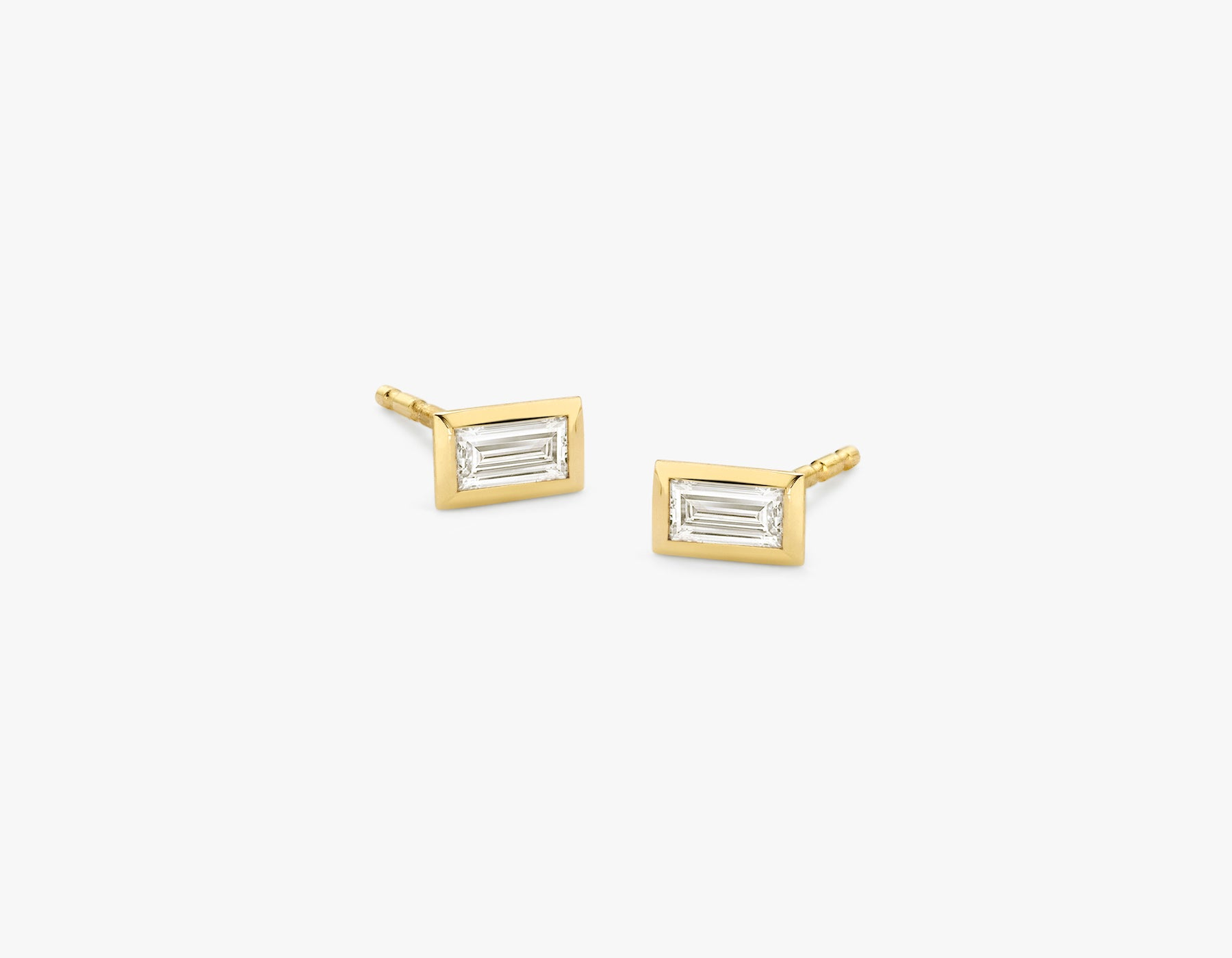 Vrai simple minimalist Baguette Diamond Bezel Earrings, 14K Yellow Gold