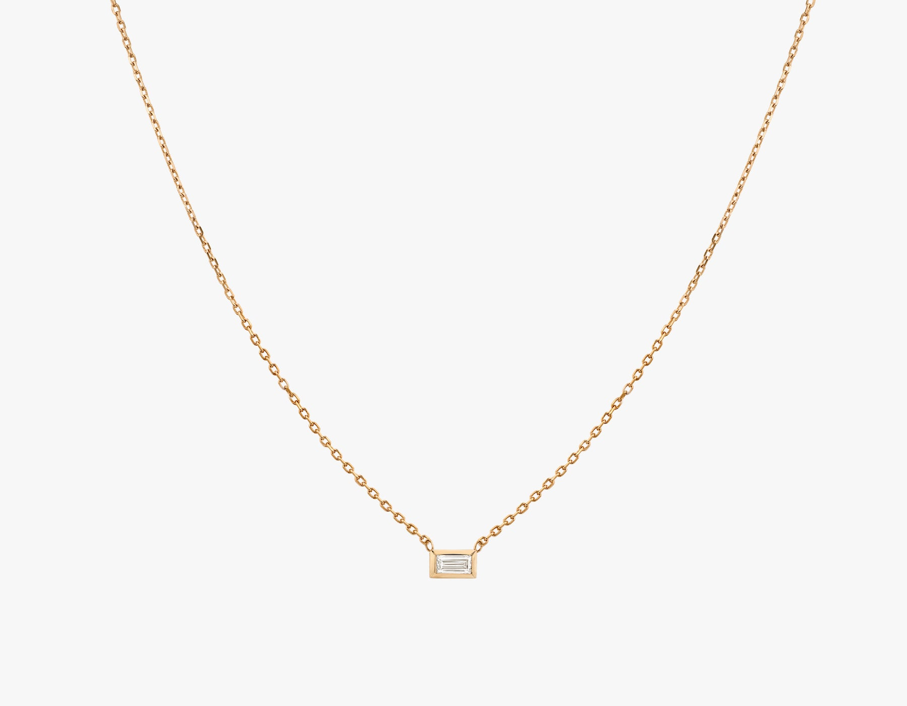 Vrai simple minimalist Baguette Diamond Bezel Necklace, 14K Rose Gold