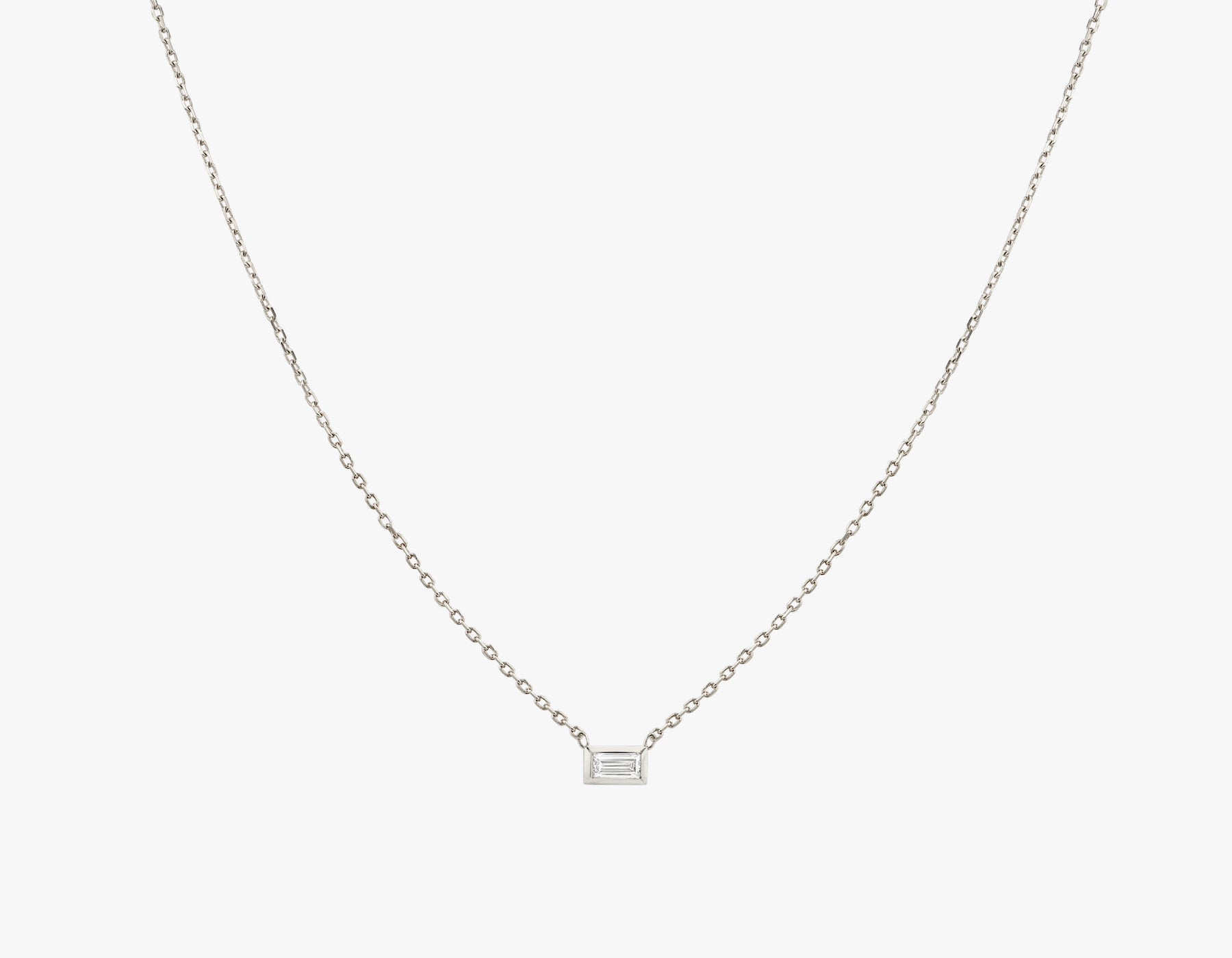 Vrai simple minimalist Baguette Diamond Bezel Necklace, 14K White Gold