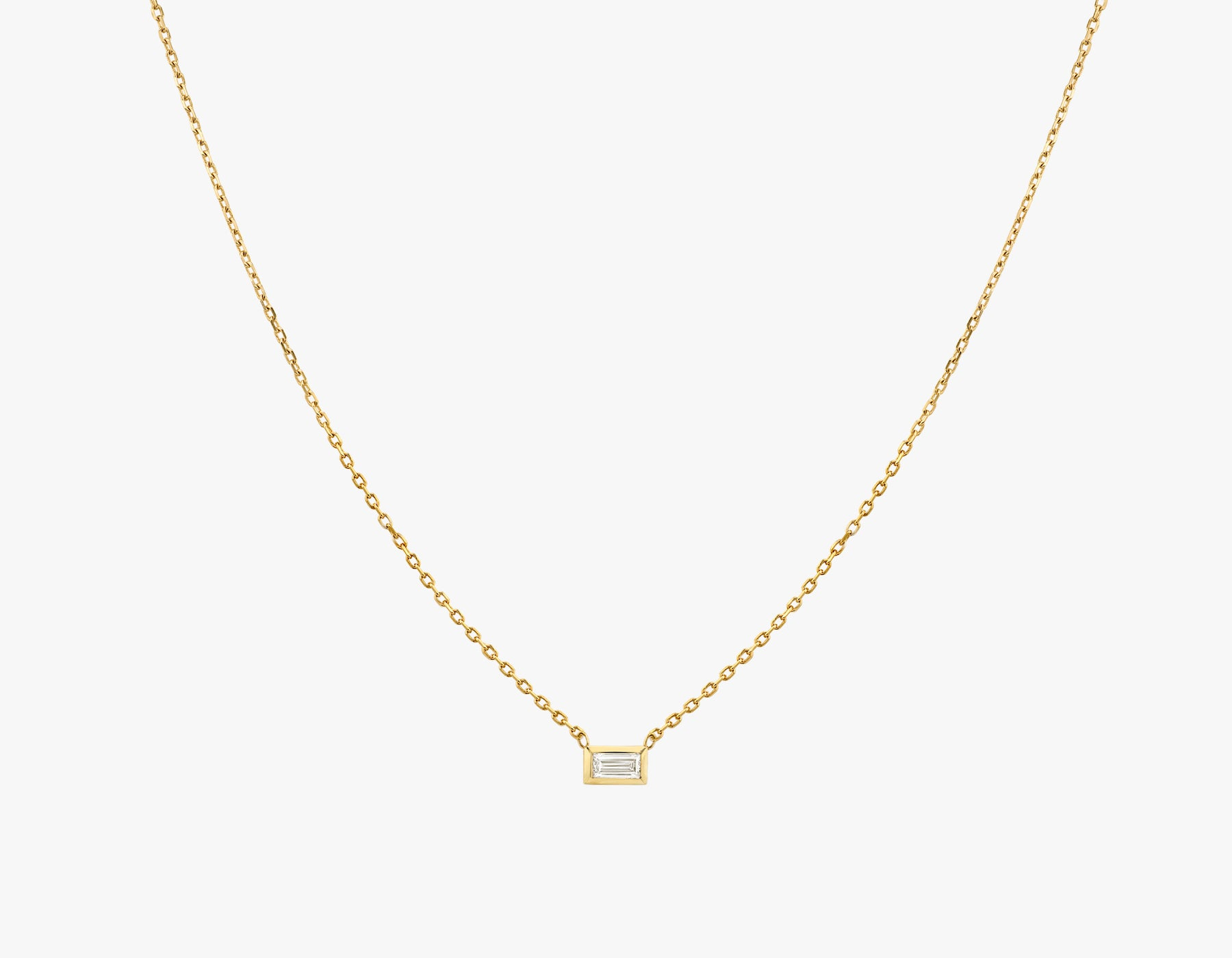 Vrai simple minimalist Baguette Diamond Bezel Necklace, 14K Yellow Gold