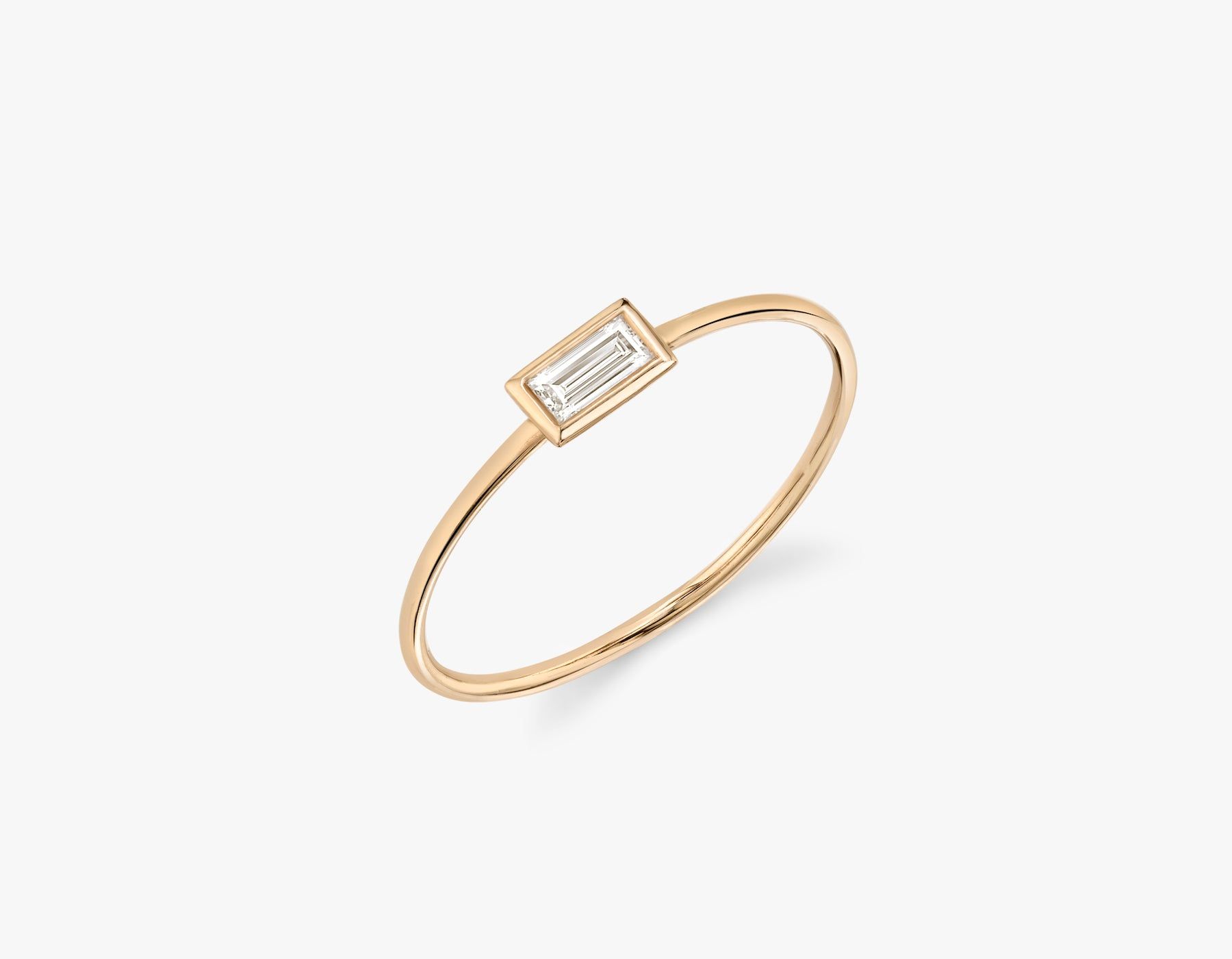 Vrai simple minimalist Baguette Diamond Bezel Ring, 14K Rose Gold