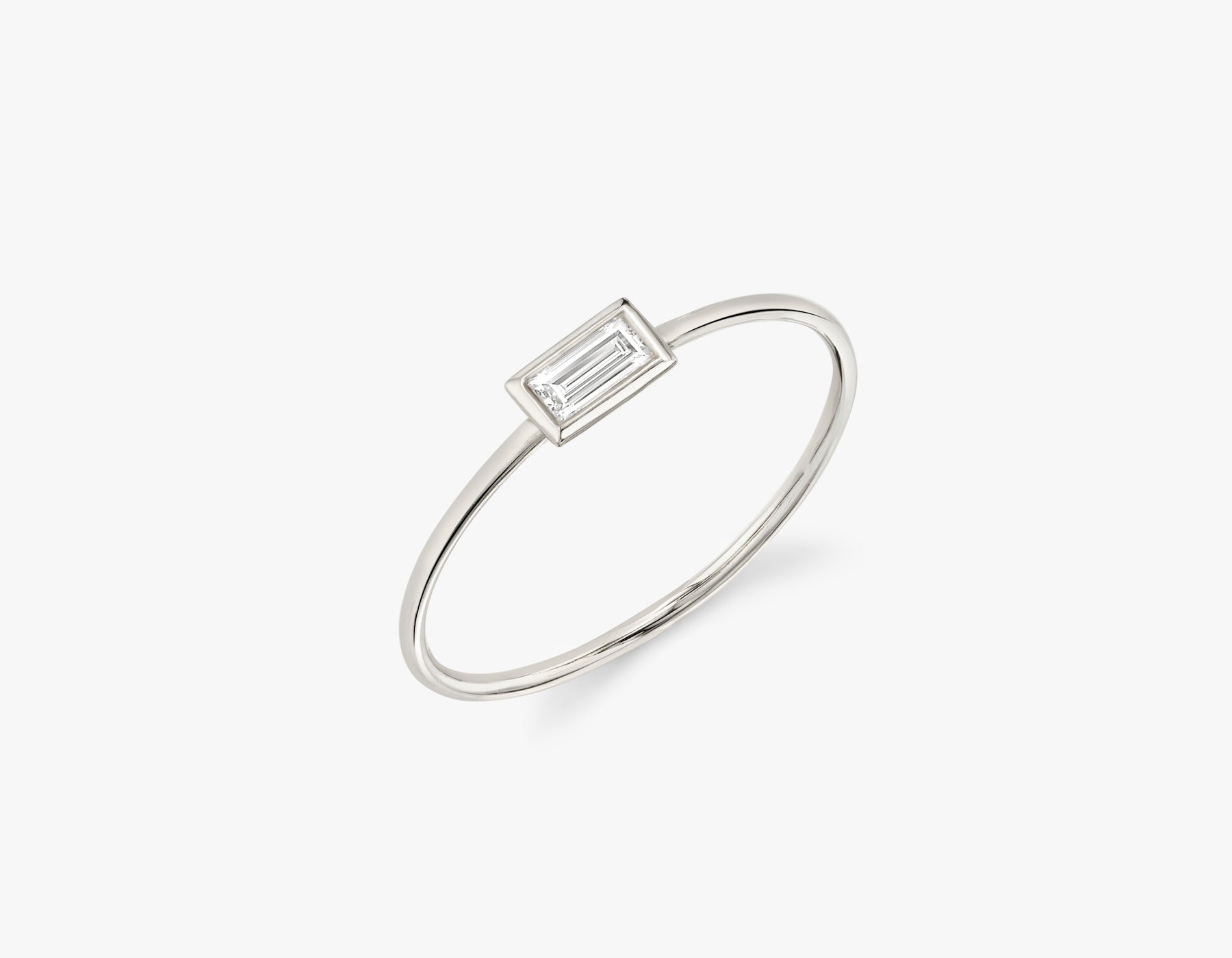 Vrai simple minimalist Baguette Diamond Bezel Ring, 14K White Gold
