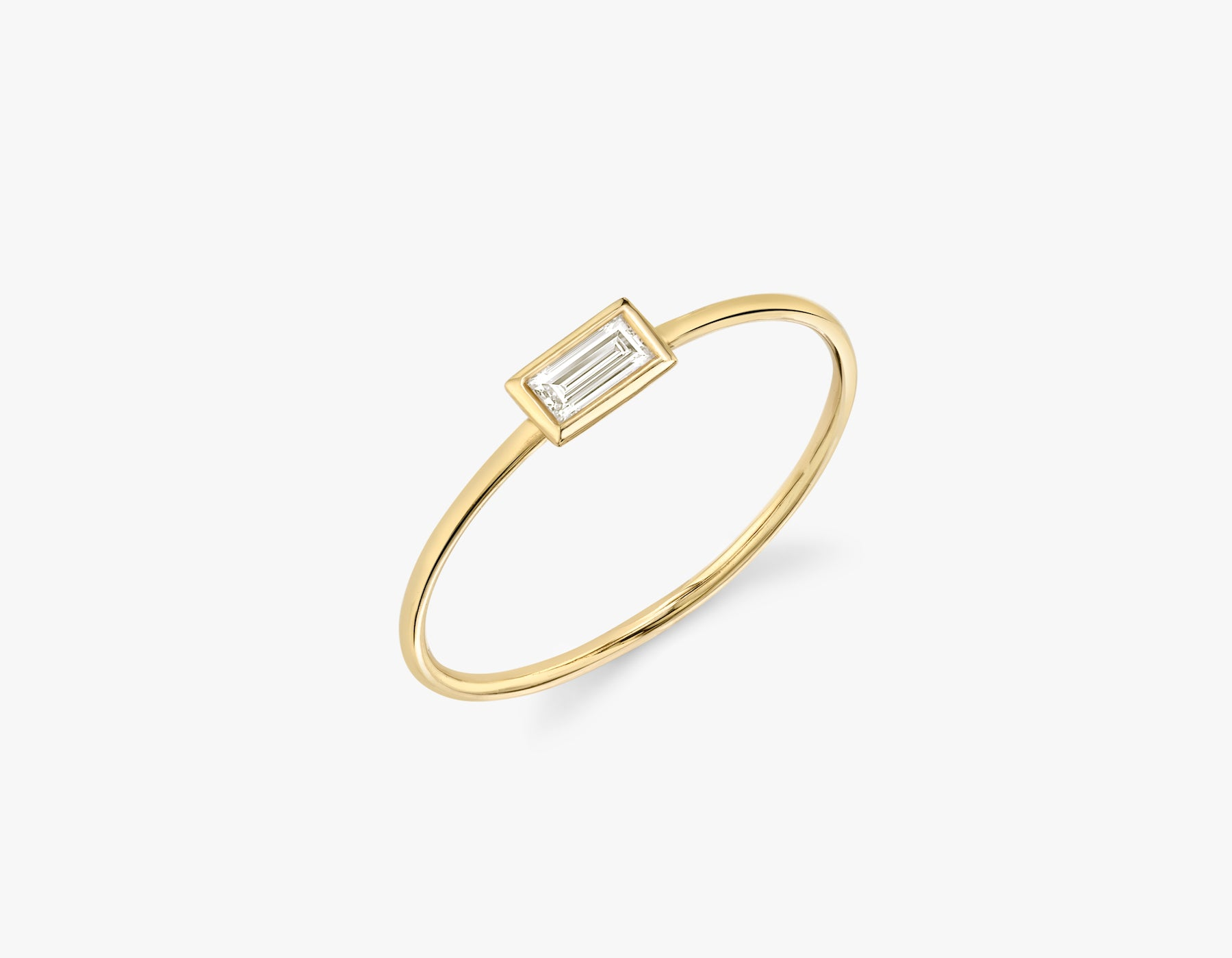 Vrai simple minimalist Baguette Diamond Bezel Ring, 14K Yellow Gold