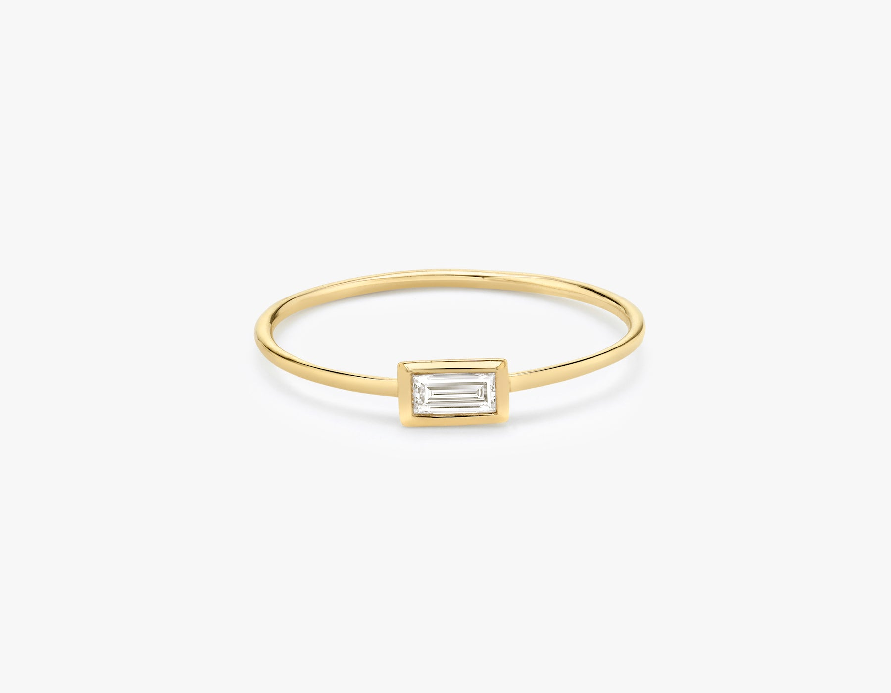 Vrai classic minimalist Baguette Diamond Bezel Ring, 14K Yellow Gold
