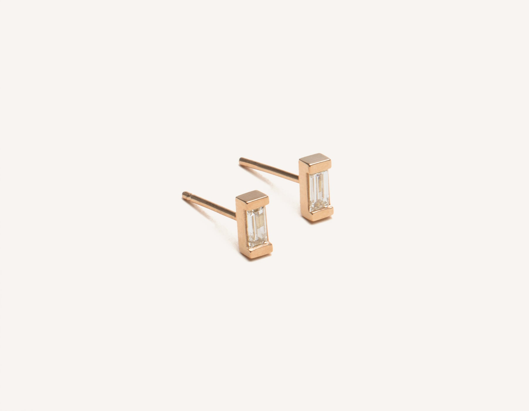 Modern Minimalist jewelry 14k solid gold Baguette Diamond stud Earrings from Vrai & Oro in a channel setting, 14K Rose Gold