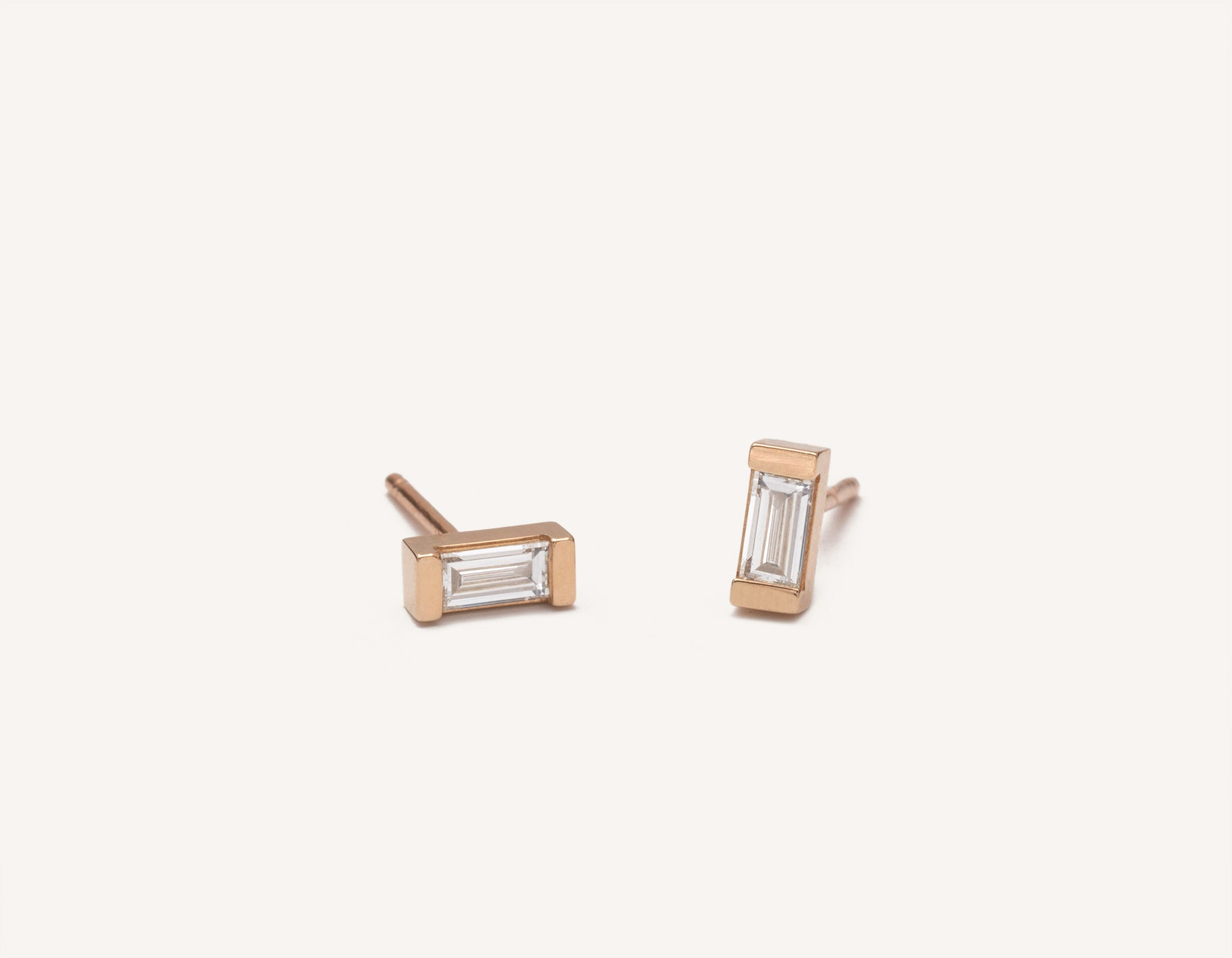 Simple elegant studs 14k solid gold Baguette Diamond Earrings from Vrai and Oro in a channel setting with a post backing, 14K Rose Gold
