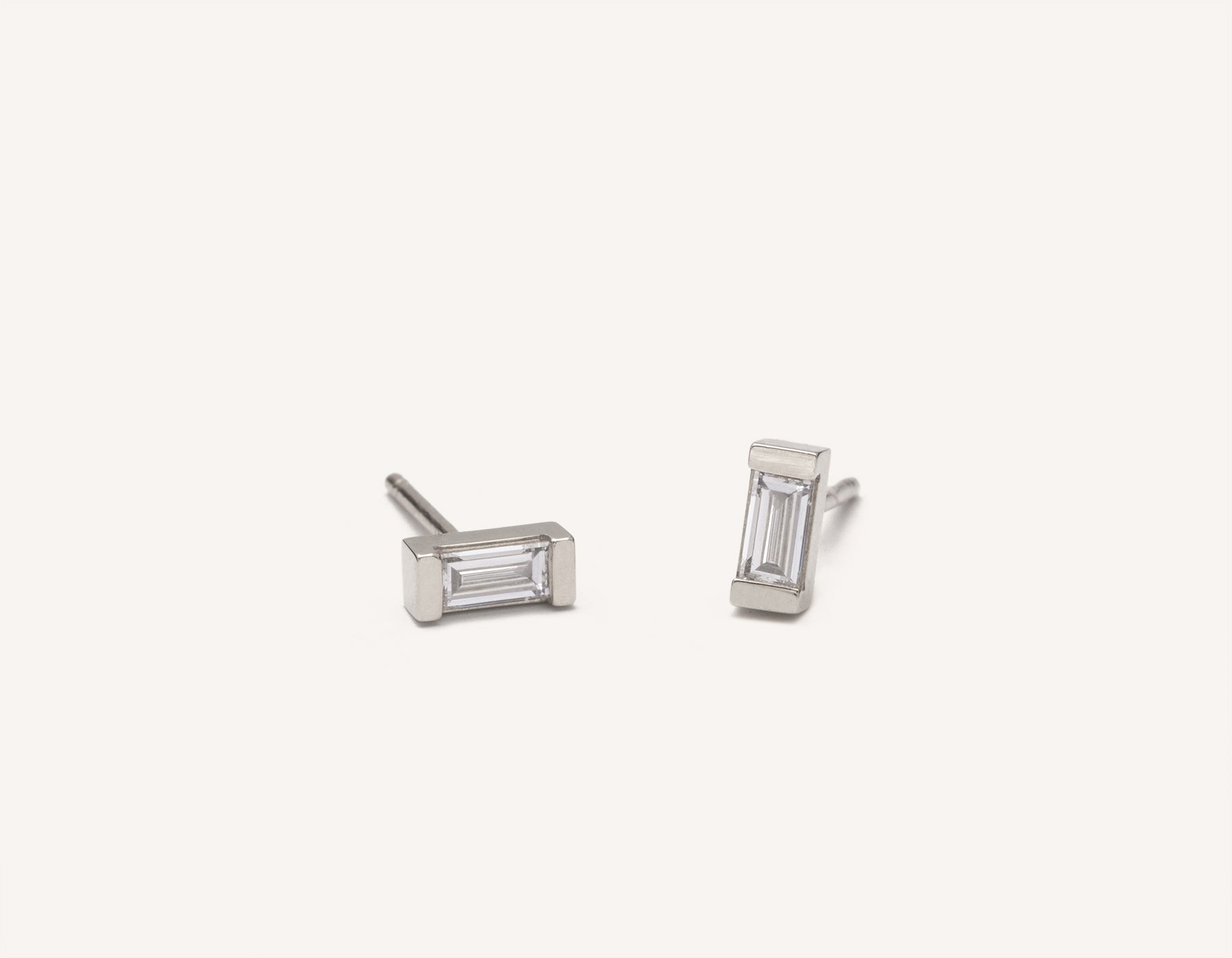 Simple elegant studs 14k solid gold Baguette Diamond Earrings from Vrai and Oro in a channel setting with a post backing,14K White Gold