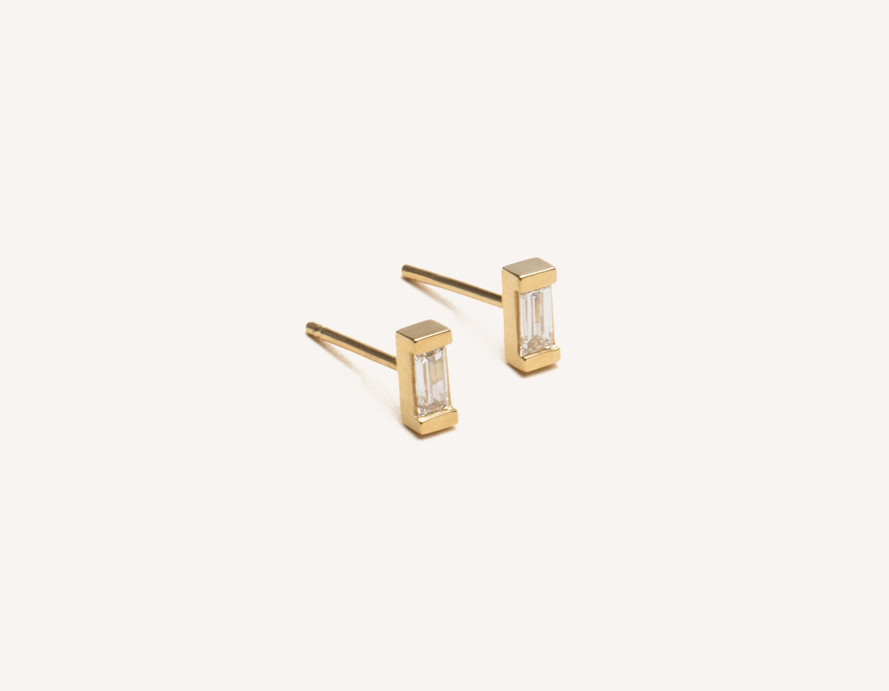 Modern Minimalist jewelry 14k solid gold Baguette Diamond stud Earrings from Vrai & Oro in a channel setting, 14K Yellow Gold