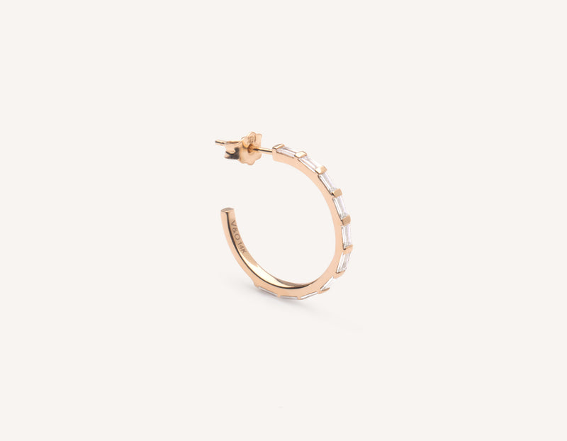 Vrai & Oro simple classic 14k solid gold Baguette Pave Diamond Hoop earrings, 14K Rose Gold