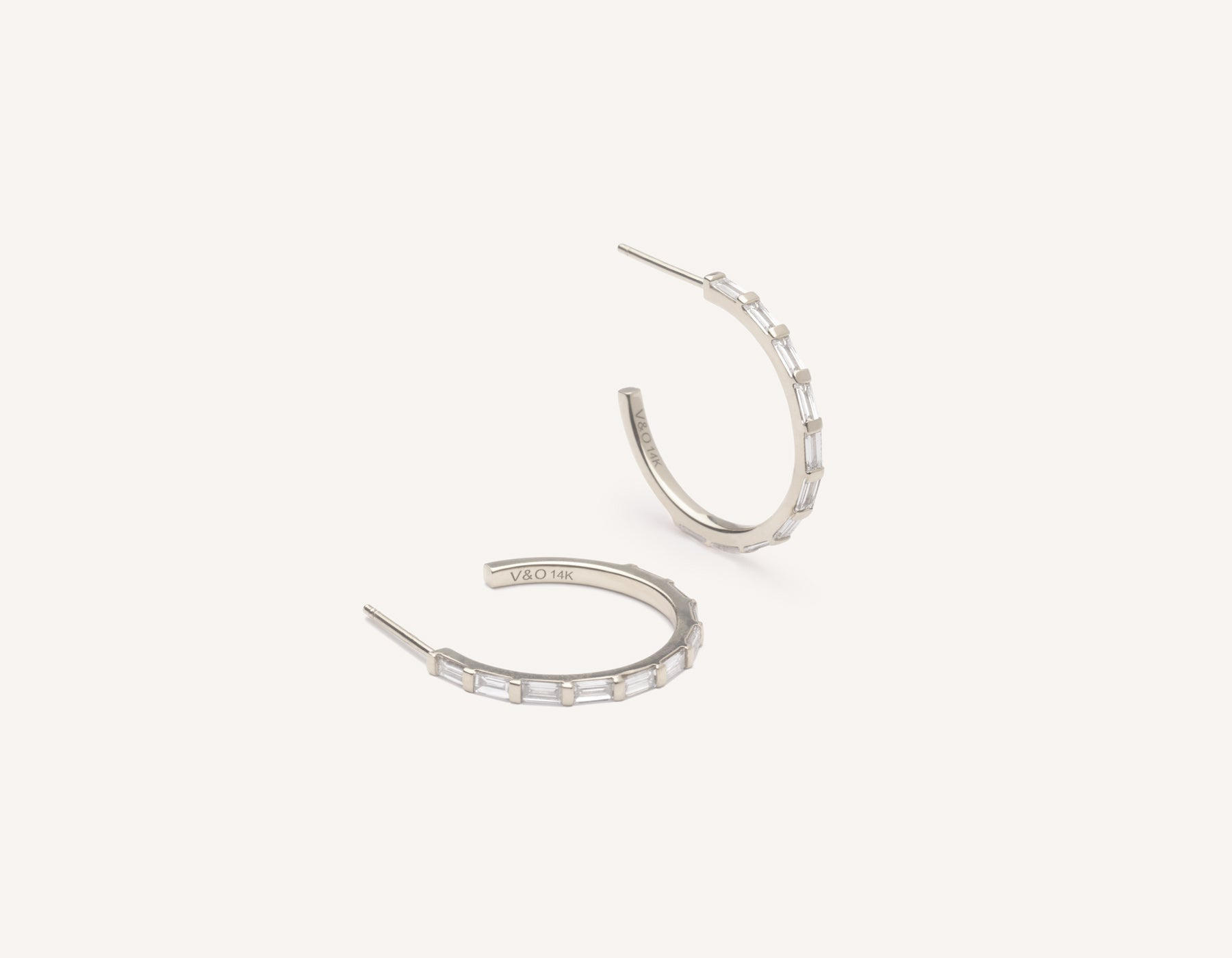 Vrai & Oro modern minimalist 14k solid gold Baguette Diamond Hoop earrings, 14K White Gold