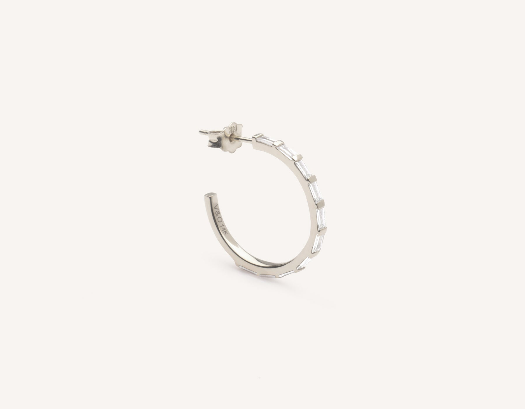 Vrai & Oro simple classic 14k solid gold Baguette Pave Diamond Hoop earrings, 14K White Gold