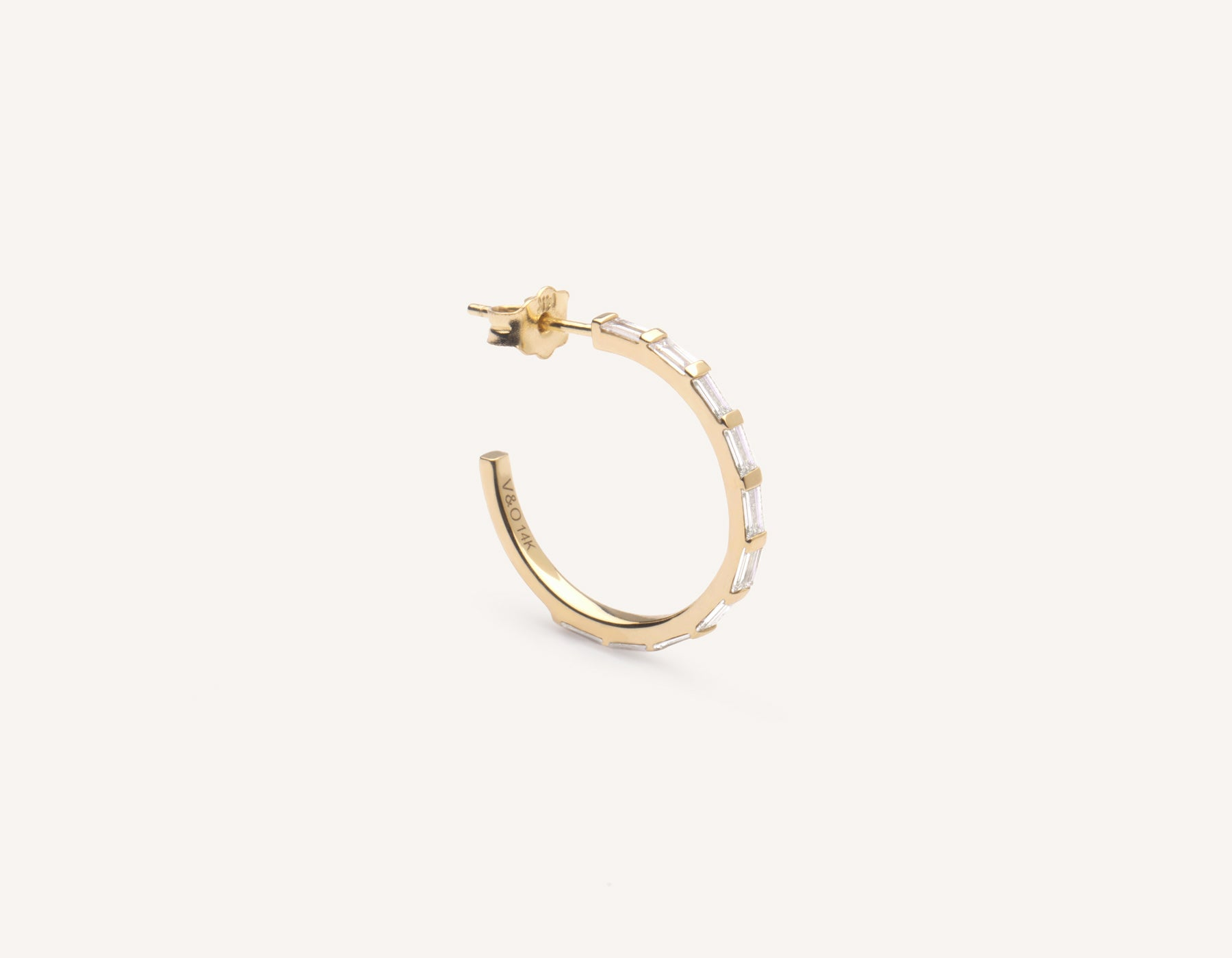 Vrai & Oro simple classic 14k solid gold Baguette Pave Diamond Hoop earrings, 14K Yellow Gold