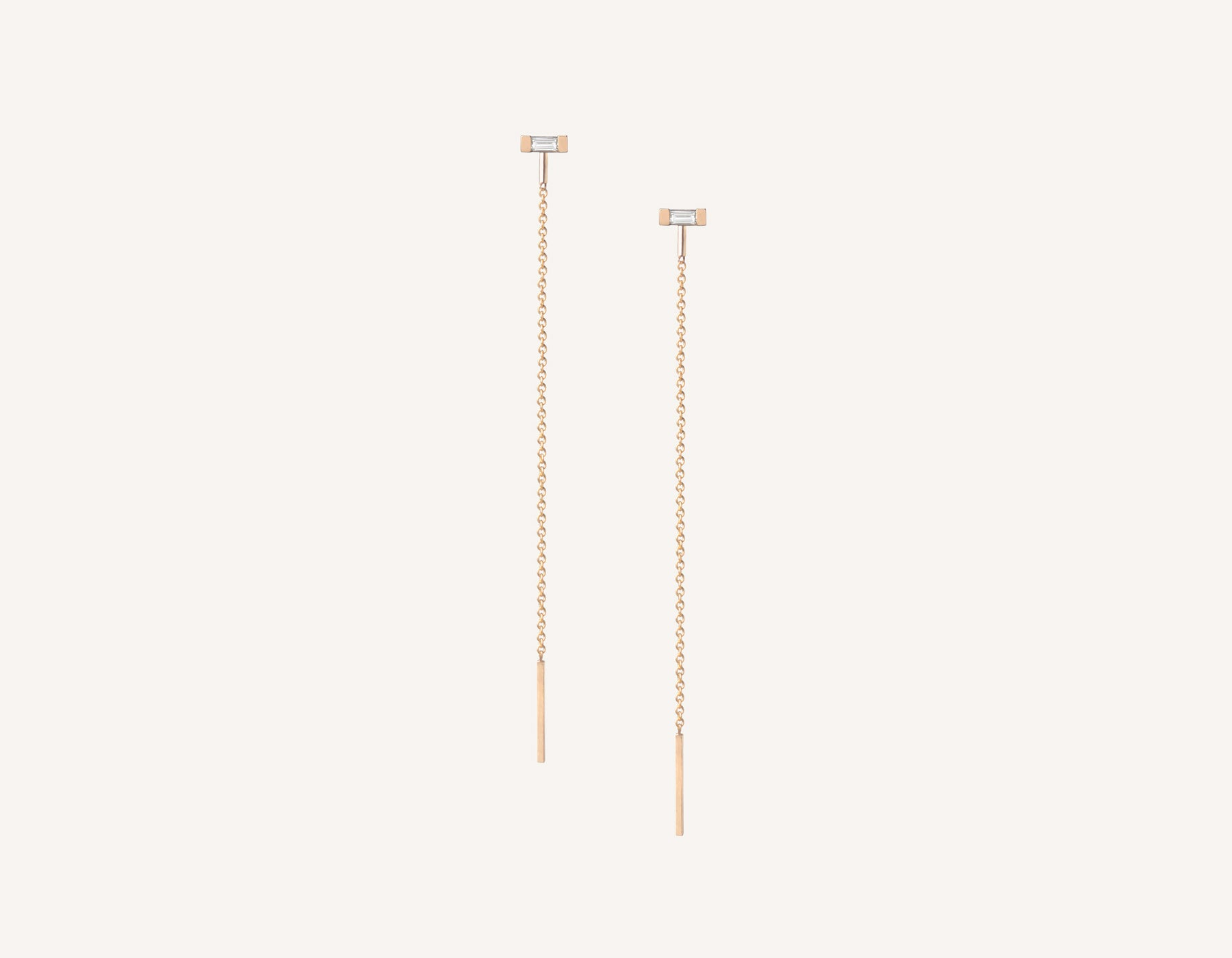 Vrai & oro minimalist modern 14k solid gold Baguette Diamond Line threader chain earrings, 14K Rose Gold