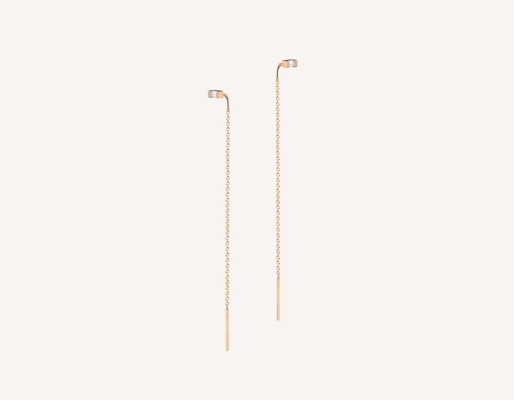 Vrai & oro simple petite 14k solid gold Baguette Diamond Line threader delicate chain earrings, 14K Rose Gold