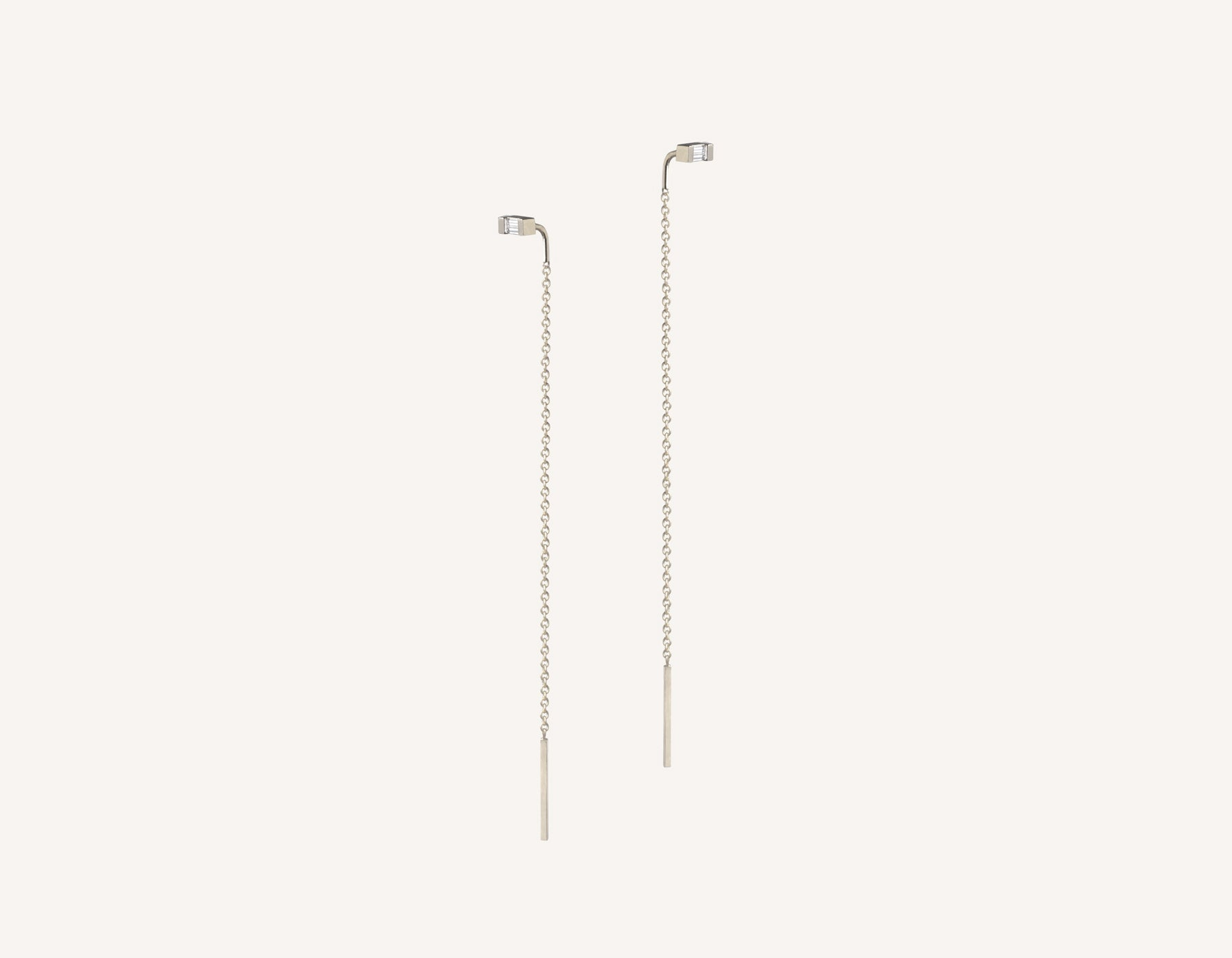 Vrai & oro simple petite 14k solid gold Baguette Diamond Line threader delicate chain earrings, 14K White Gold