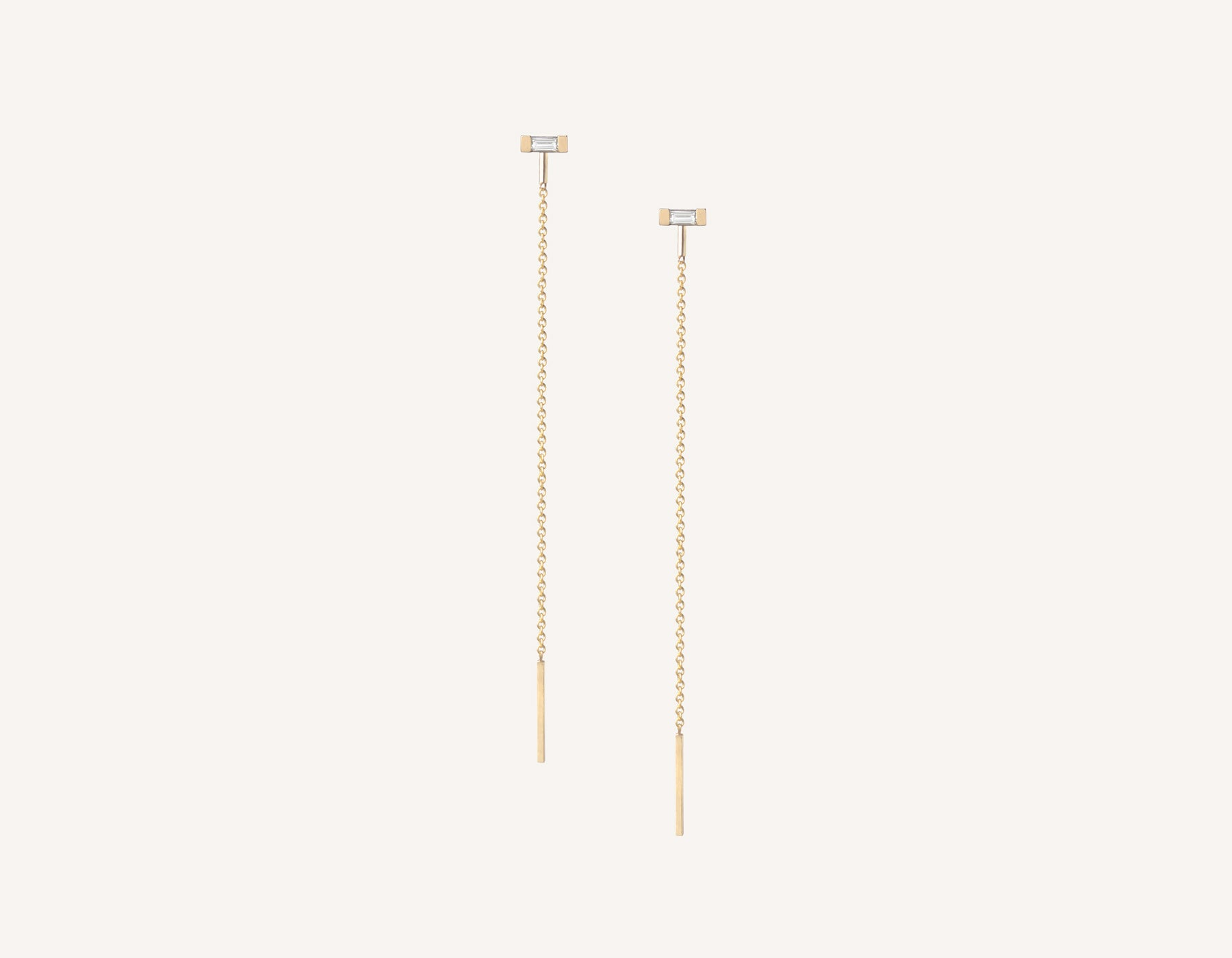 Vrai & oro minimalist modern 14k solid gold Baguette Diamond Line threader chain earrings, 14K Yellow Gold