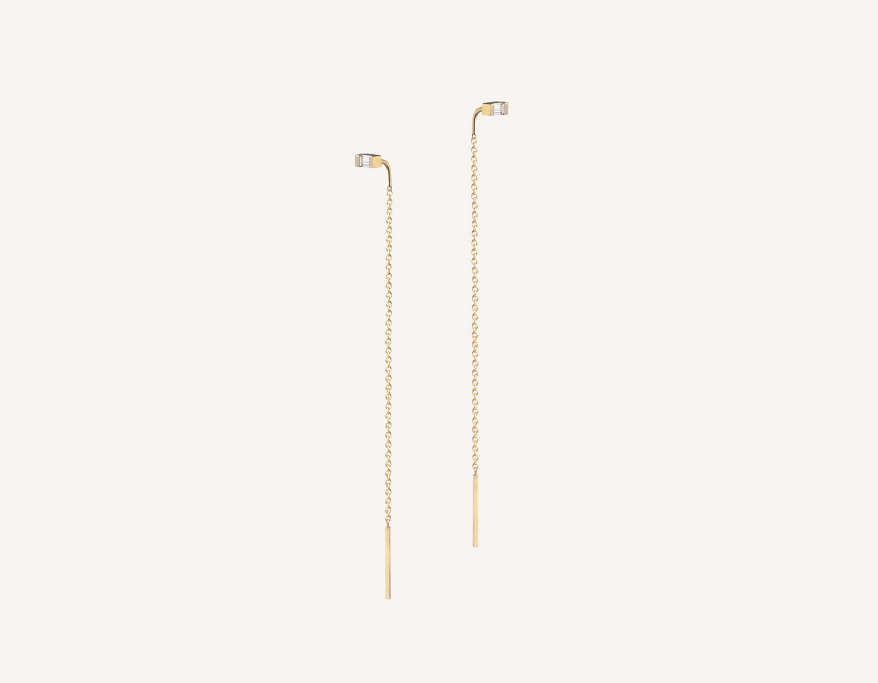 Vrai & oro simple petite 14k solid gold Baguette Diamond Line threader delicate chain earrings, 14K Yellow Gold