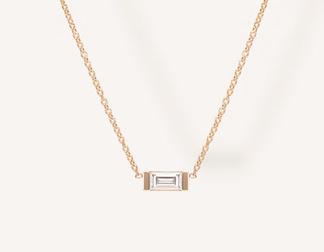 Dainty Minimalist 14k Solid Gold Baguette Diamond Necklace by Vrai & Oro with a .1 carat diamond in channel setting, 14K Rose Gold