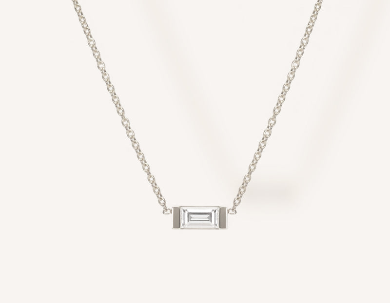 Dainty Minimalist 14k Solid Gold Baguette Diamond Necklace by Vrai & Oro with a .1 carat diamond in channel setting, 14K White Gold