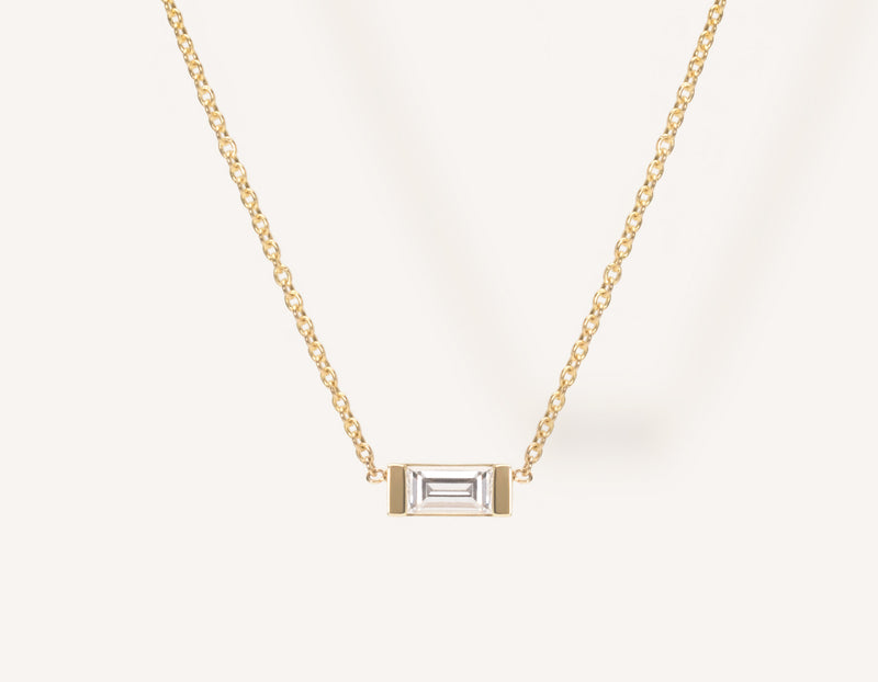 Dainty Minimalist 14k Solid Gold Baguette Diamond Necklace by Vrai & Oro with a .1 carat diamond in channel setting, 14K Yellow Gold