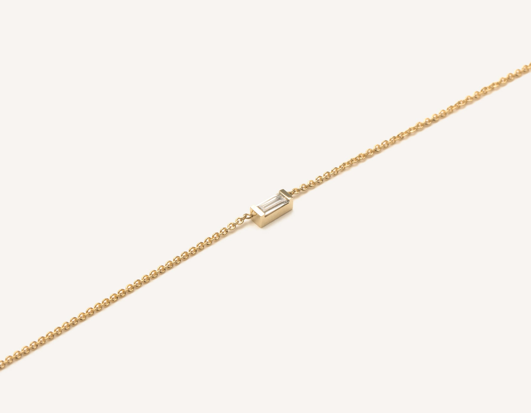 Simple delicate 14k Solid Gold Baguette Diamond Necklace by Vrai and Oro jewelry, 14K Yellow Gold