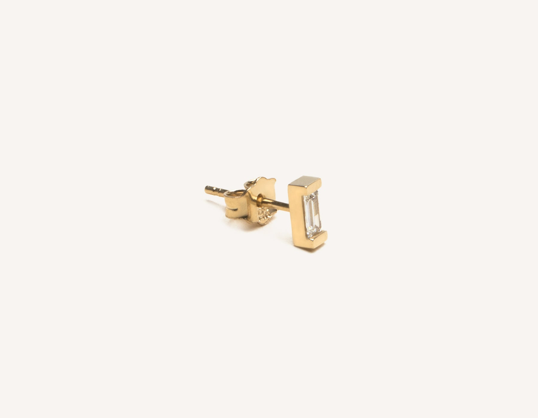 Classic dainty Art Deco Baguette Diamond Earrings from Vrai & Oro made from 14k solid gold with a post backing and baguette diamond in a channel setting, 14K Yellow Gold