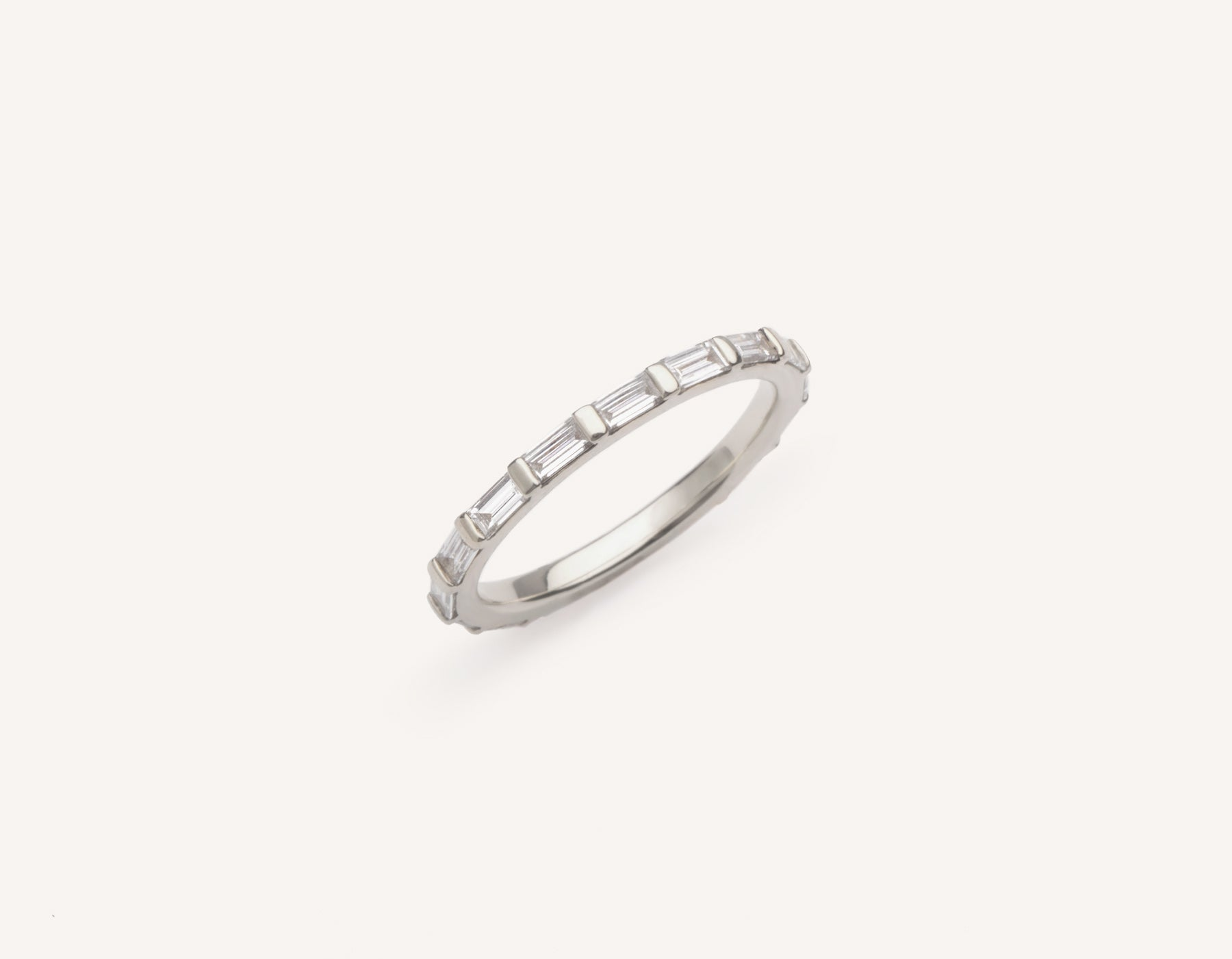 Minimalist platinum Baguette Diamond Infinity Pave Wedding Band for men women Vrai and Oro