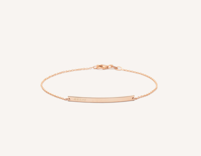 Personalized engravable simple 14k Solid Gold Bar Bracelet on dainty chain Vrai and Oro, 14K Rose Gold