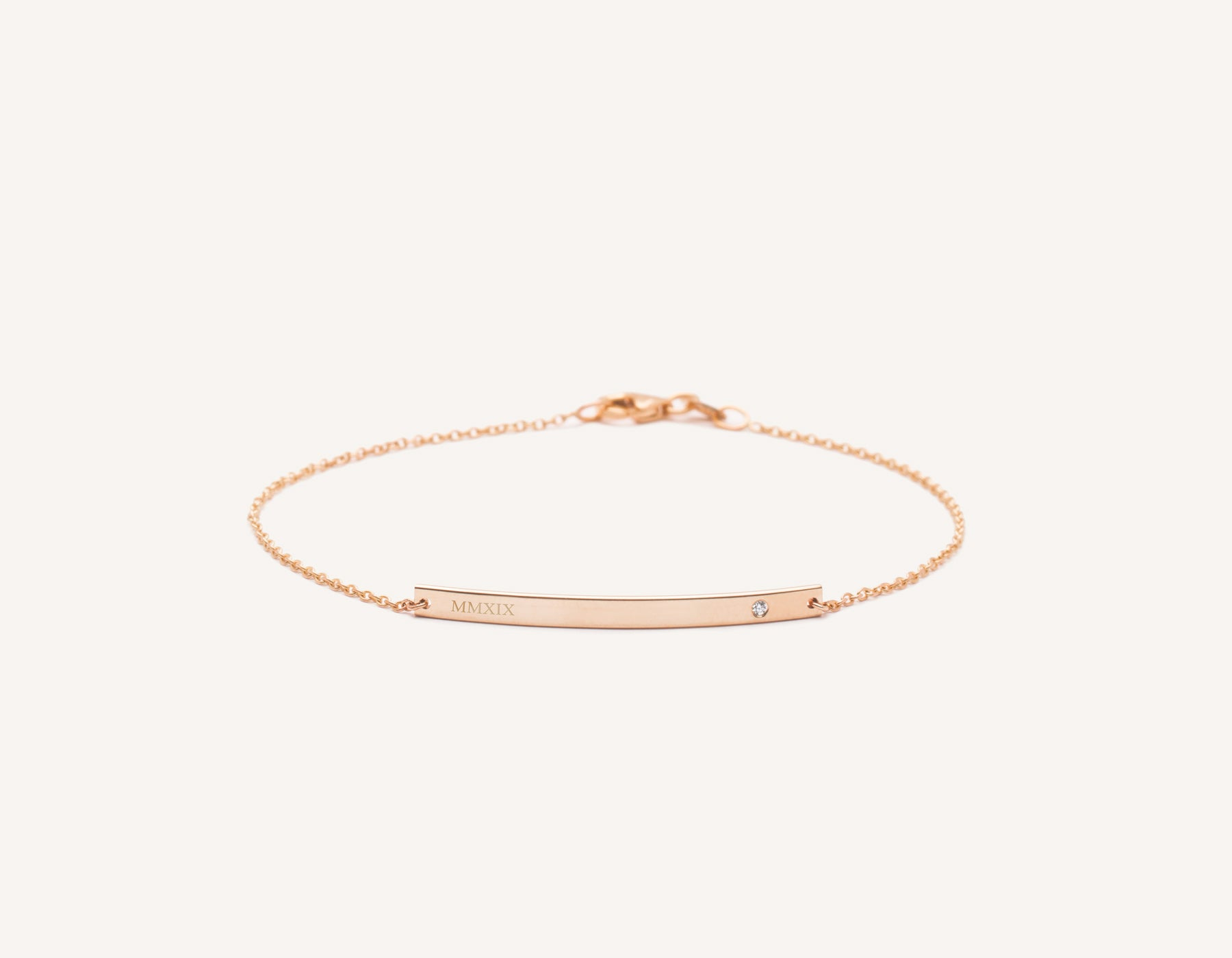 Engraved simple 14k Solid Gold Bar Bracelet with small diamond on minimalist chain with lobster clasp Vrai and Oro, 14K Rose Gold