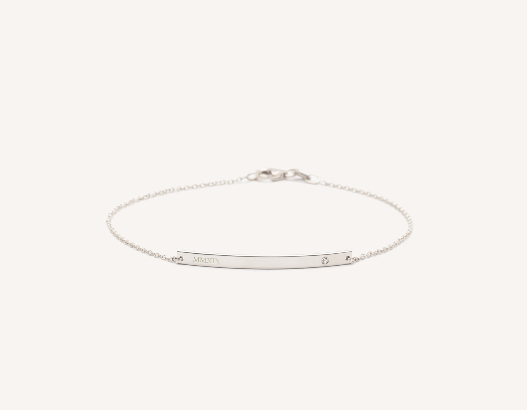 Engraved simple 14k Solid Gold Bar Bracelet with small diamond on minimalist chain with lobster clasp Vrai and Oro, 14K White Gold