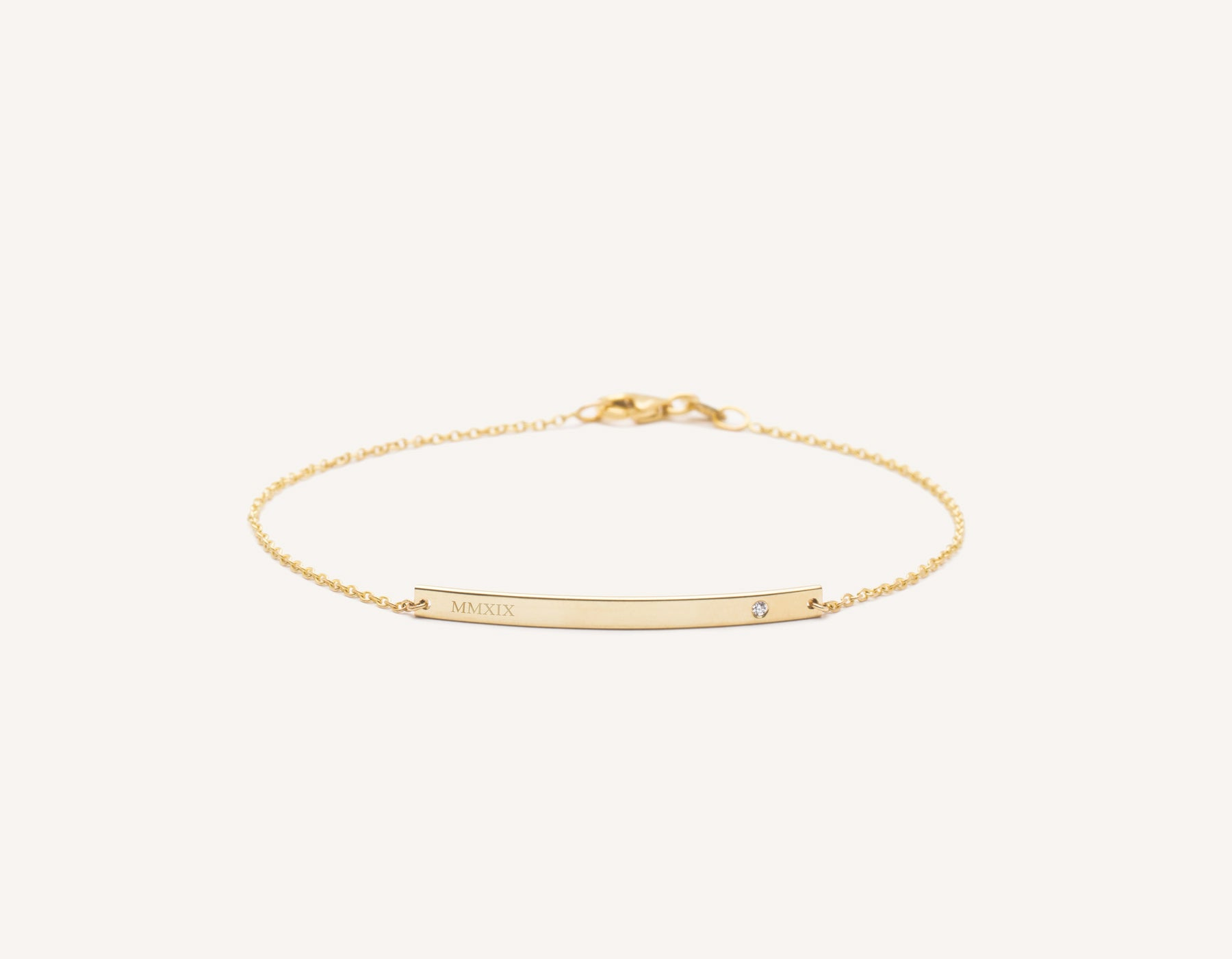Engraved simple 14k Solid Gold Bar Bracelet with small diamond on minimalist chain with lobster clasp Vrai and Oro, 14K Yellow Gold