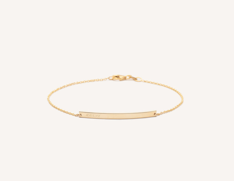 Personalized engravable simple 14k Solid Gold Bar Bracelet on dainty chain Vrai and Oro, 14K Yellow Gold