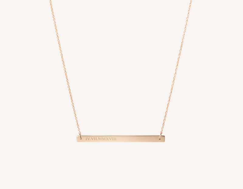 "personalized engraving 14k solid gold Bar Necklace on dainty 17"" chain by Vrai and Oro minimalist jewelry, 14K Rose Gold"
