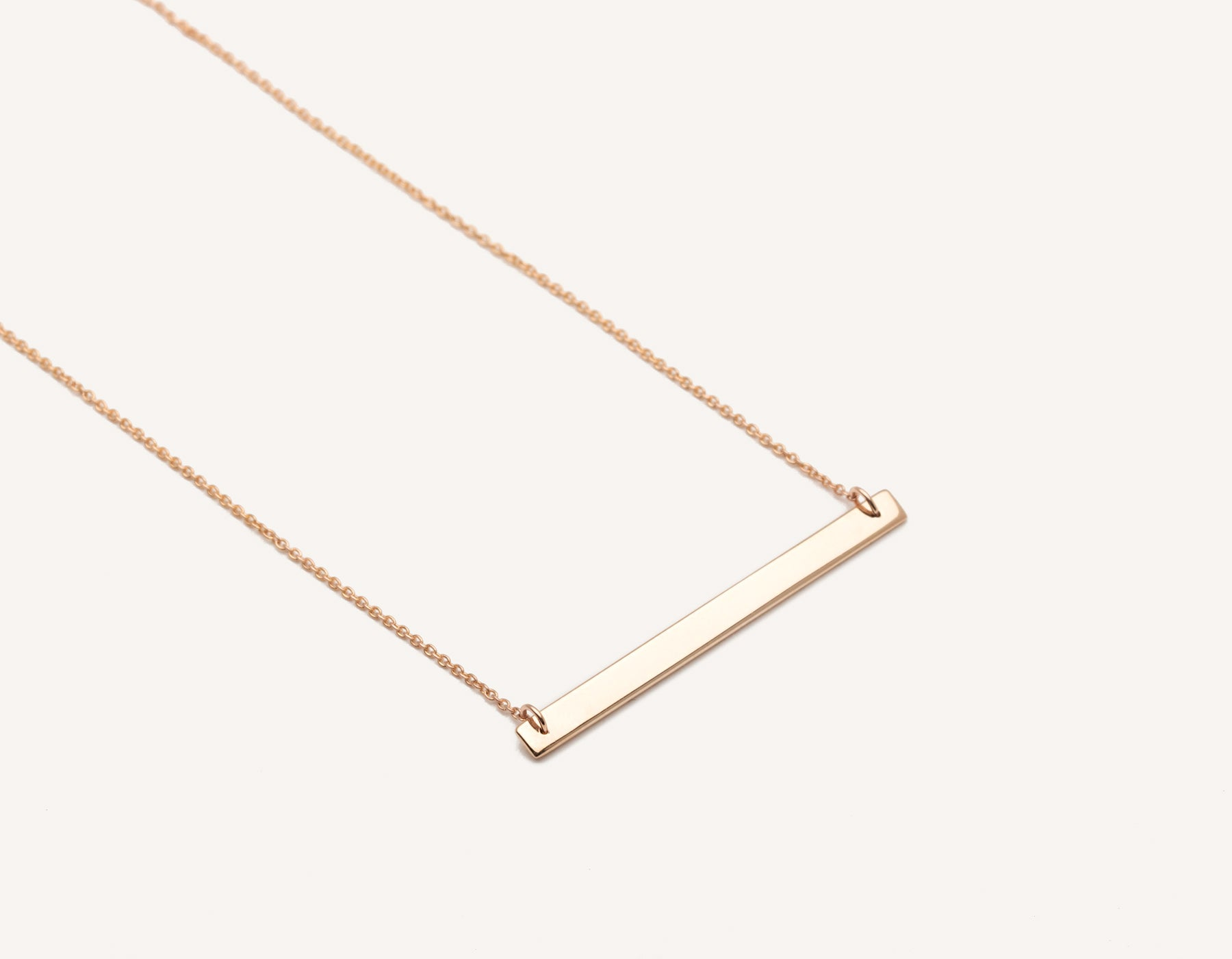 simple custom 14k solid gold thin Bar Necklace on delicate 17 inch chain by Vrai & Oro modern jewelry, 14K Rose Gold