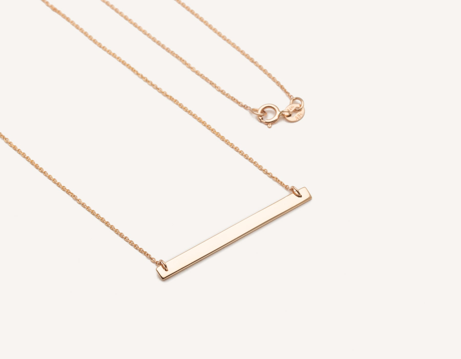 "customized minimalist 14k solid gold Bar Necklace on 17"" chain with spring ring clasp by Vrai & Oro sustainable jewelry, 14K Rose Gold"