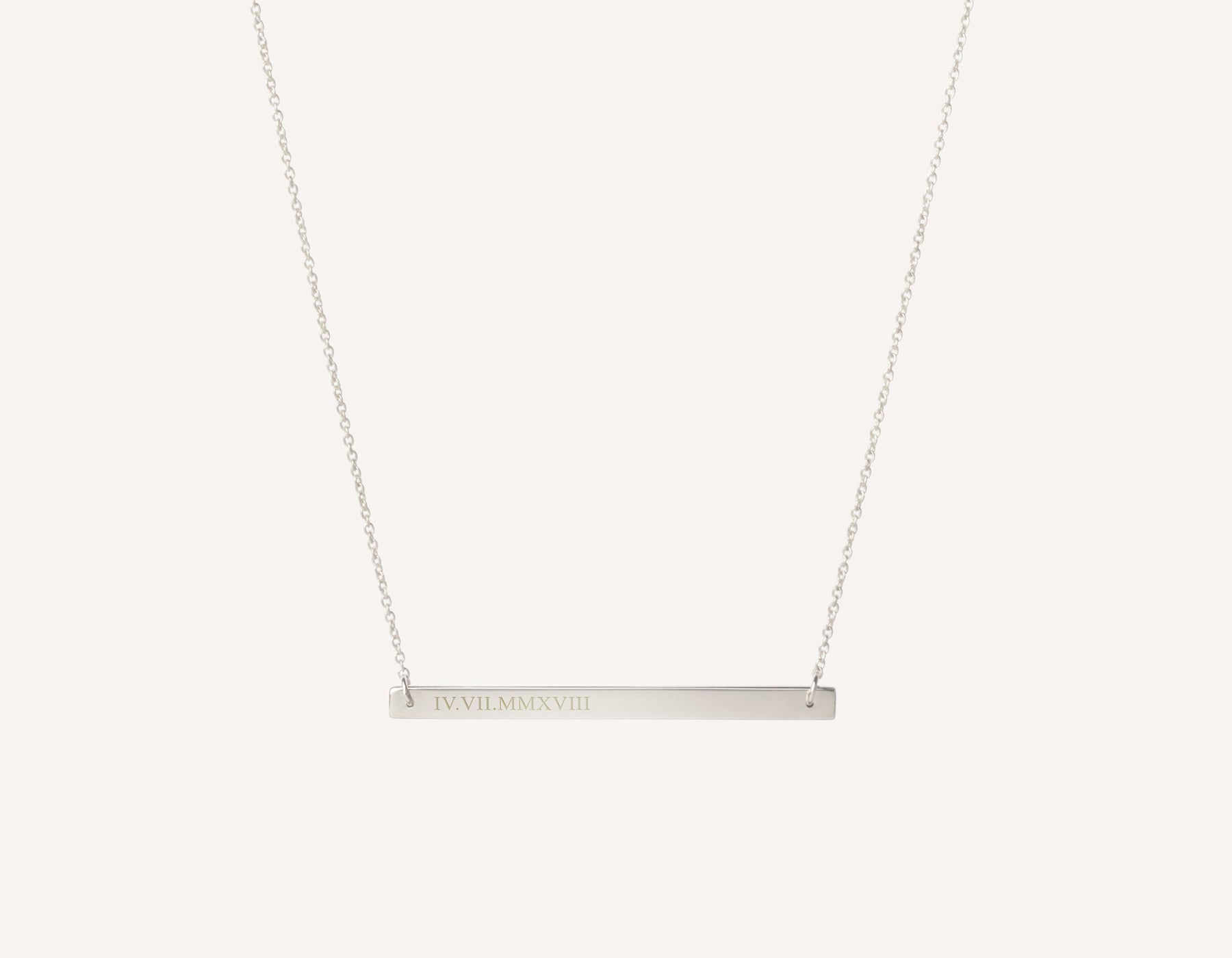 "personalized engraving 14k solid gold Bar Necklace on dainty 17"" chain by Vrai and Oro minimalist jewelry, 14K White Gold"