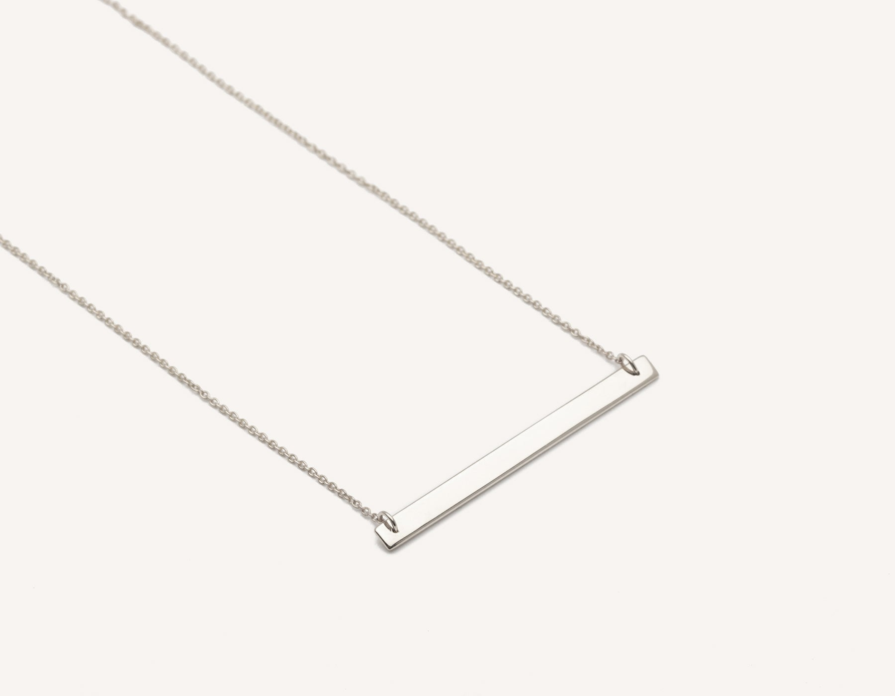 simple custom 14k solid gold thin Bar Necklace on delicate 17 inch chain by Vrai & Oro modern jewelry, 14K White Gold
