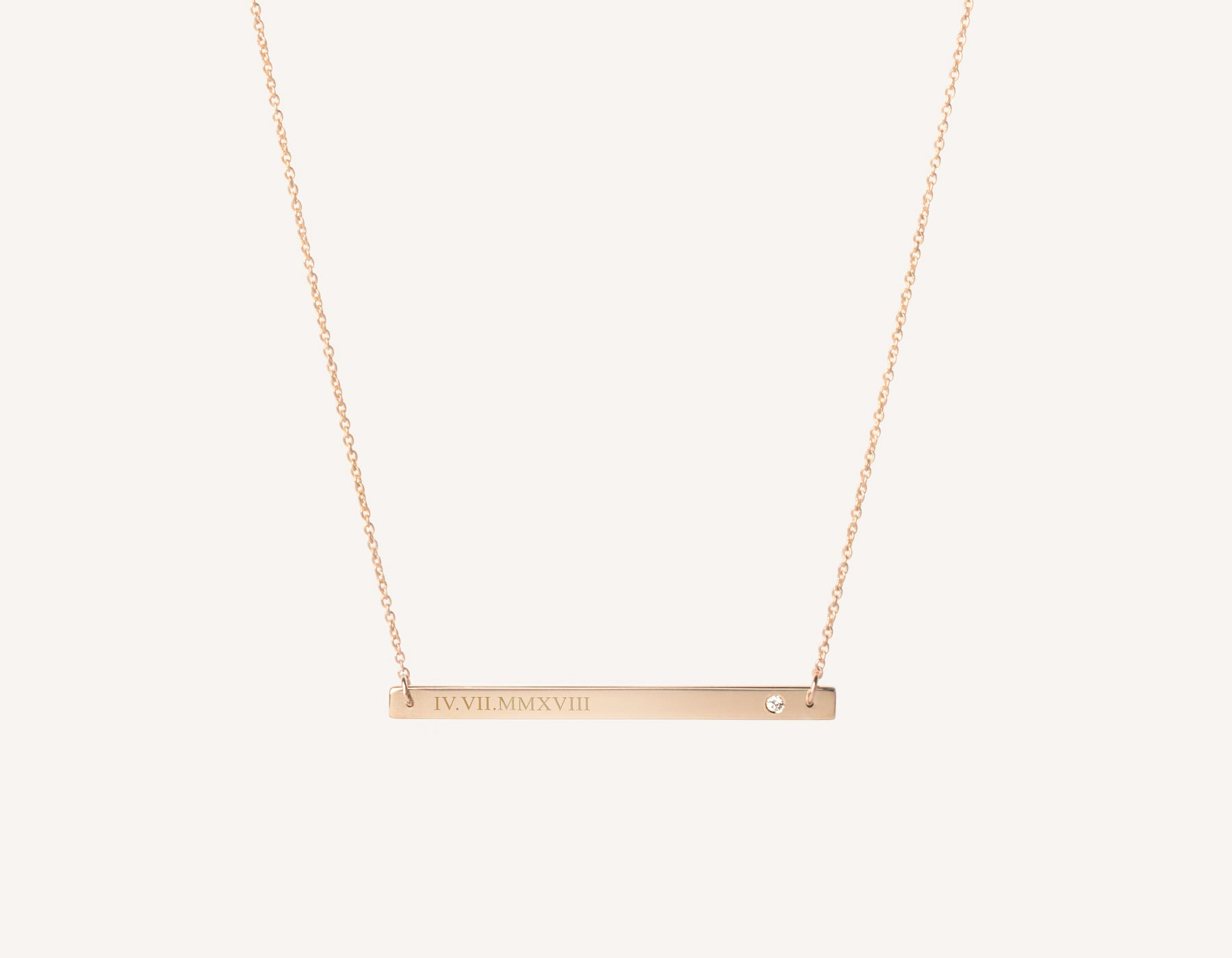 Customized engraving 14k solid gold Bar Necklace with .02 carat diamond on thin simple 17 inch chain by Vrai and Oro, 14K Rose Gold