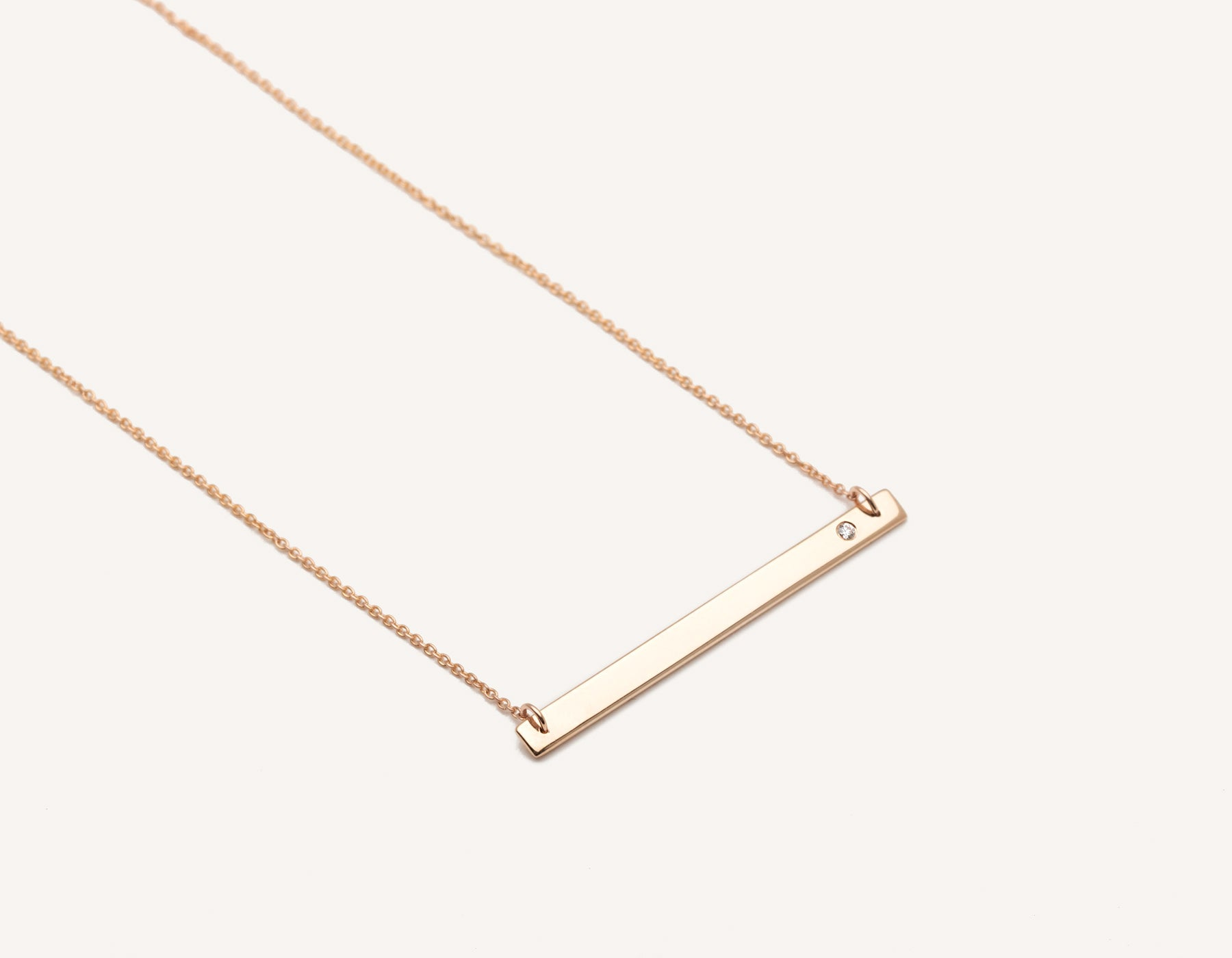 Stylish engravable 14k solid gold Bar Necklace with small round diamond on classic chain by Vrai & Oro minimalist jewelry, 14K Rose Gold
