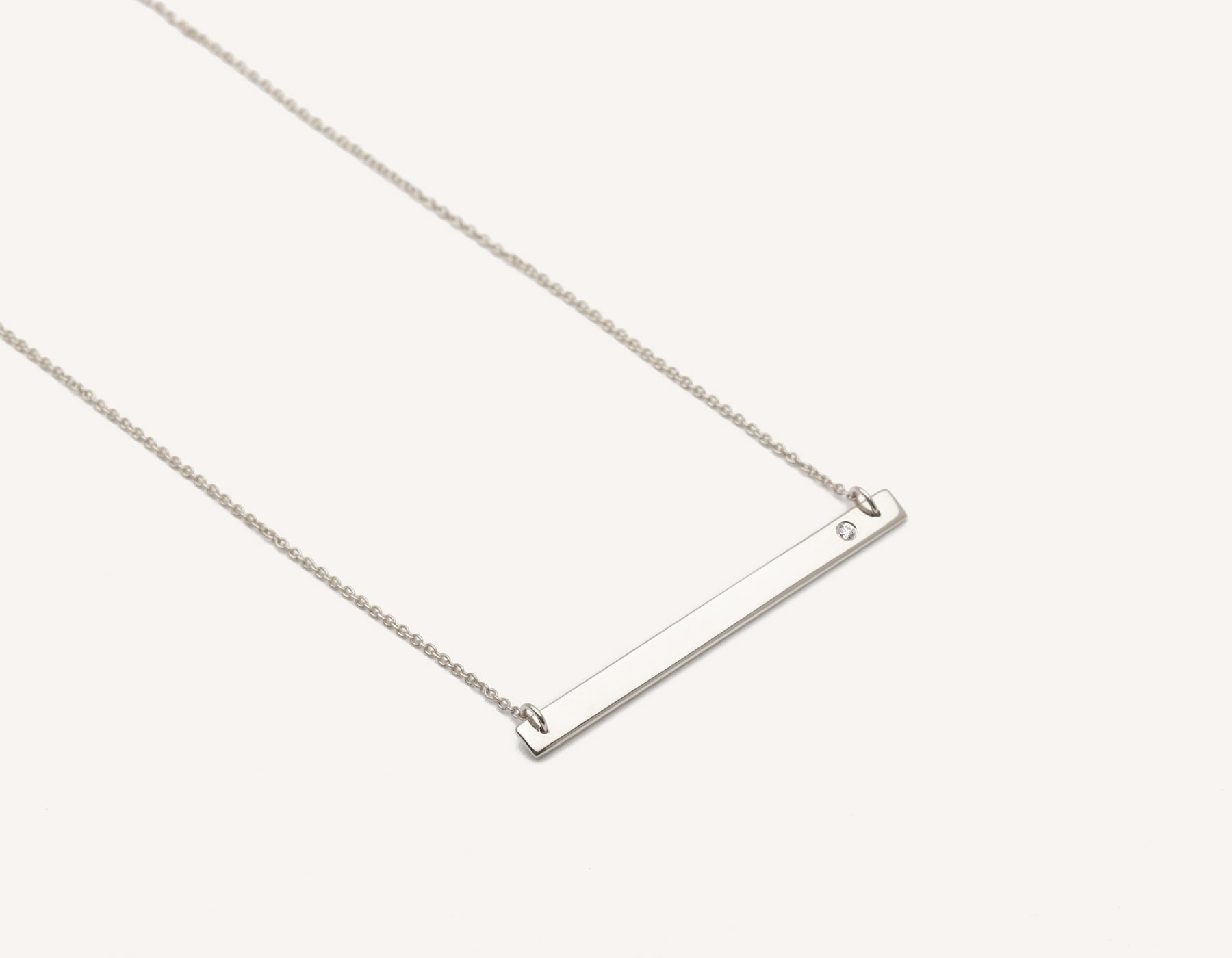 Stylish engravable 14k solid gold Bar Necklace with small round diamond on classic chain by Vrai & Oro minimalist jewelry, 14K White Gold