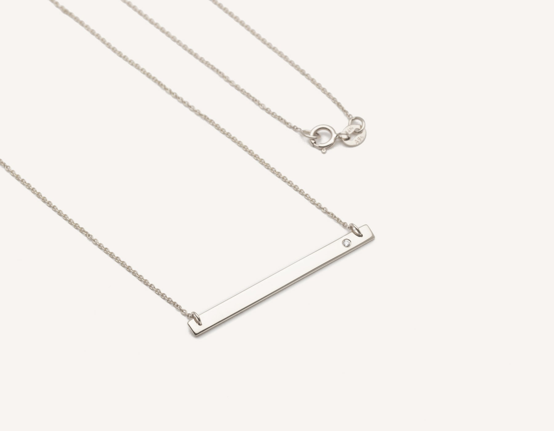 Simple personalized engraving 14k solid gold Bar Necklace with Diamond on minimalist chain by Vrai & Oro sustainable jewelry, 14K White Gold