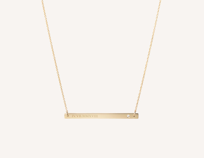 Customized engraving 14k solid gold Bar Necklace with .02 carat diamond on thin simple 17 inch chain by Vrai and Oro, 14K Yellow Gold